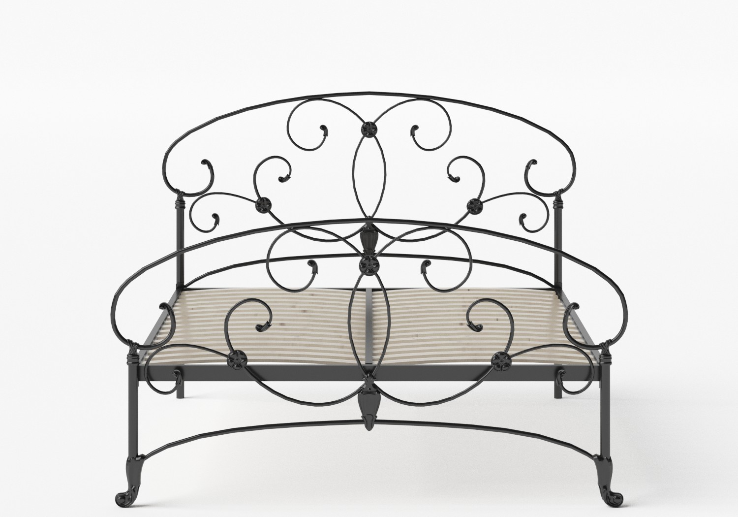 Arigna Iron/Metal Bed in Satin Black shown with slatted frame