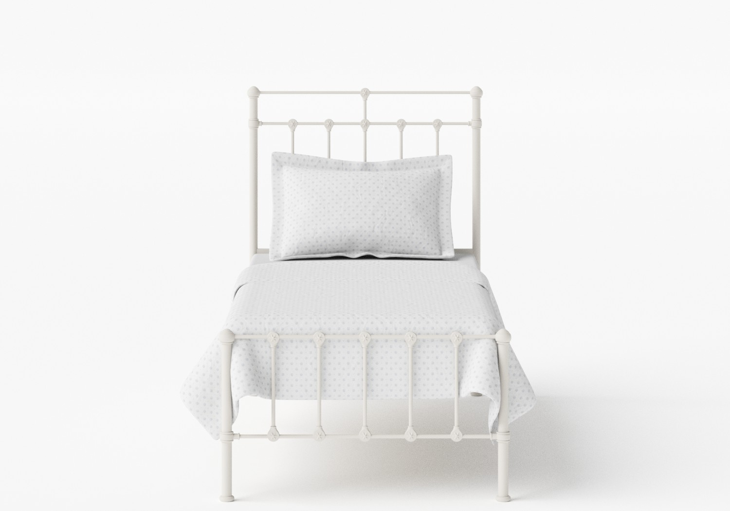 Ashley Single Iron/Metal Bed in Glossy Ivory