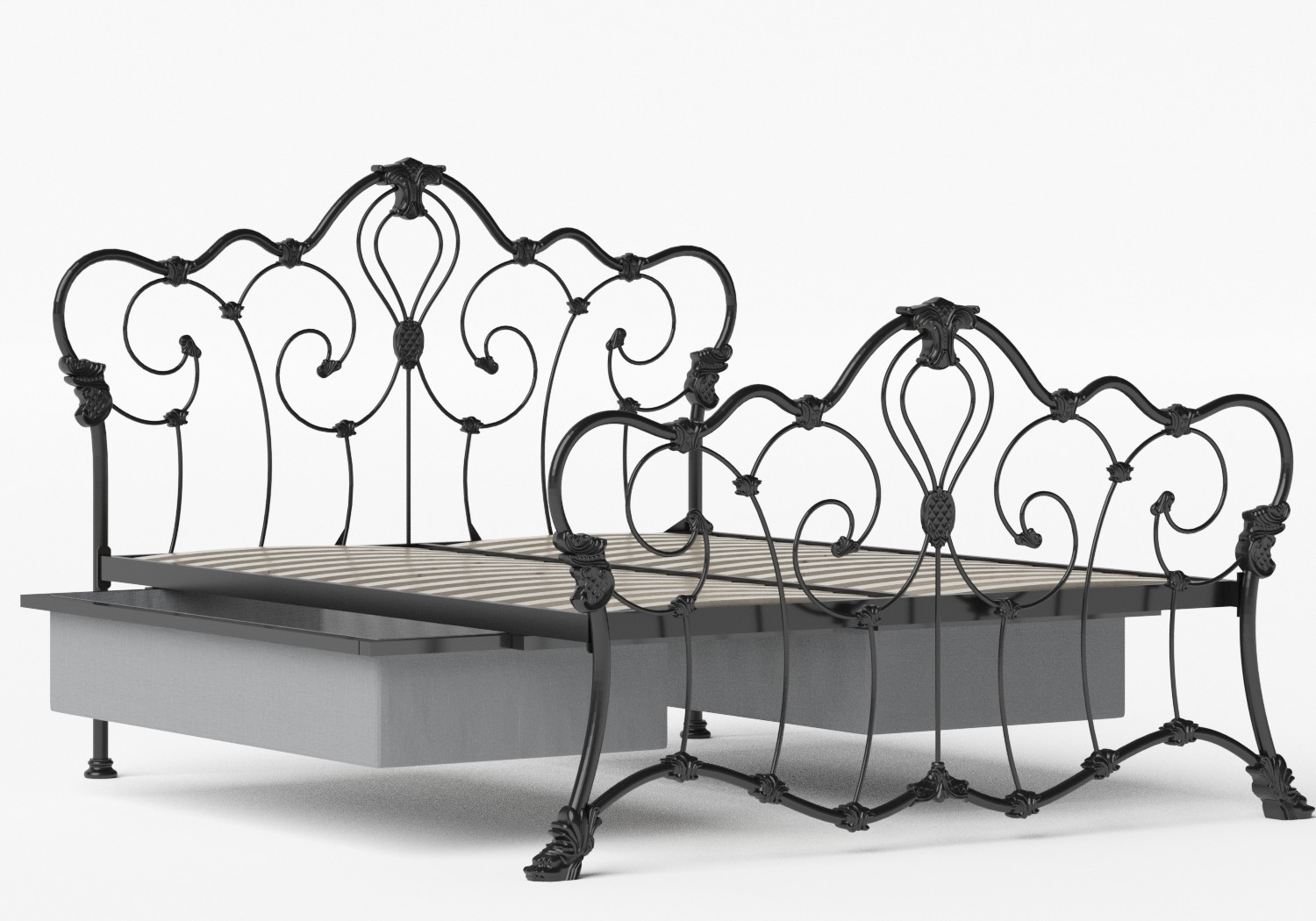Athalone Iron/Metal Bed in Satin Black shown with underbed storage
