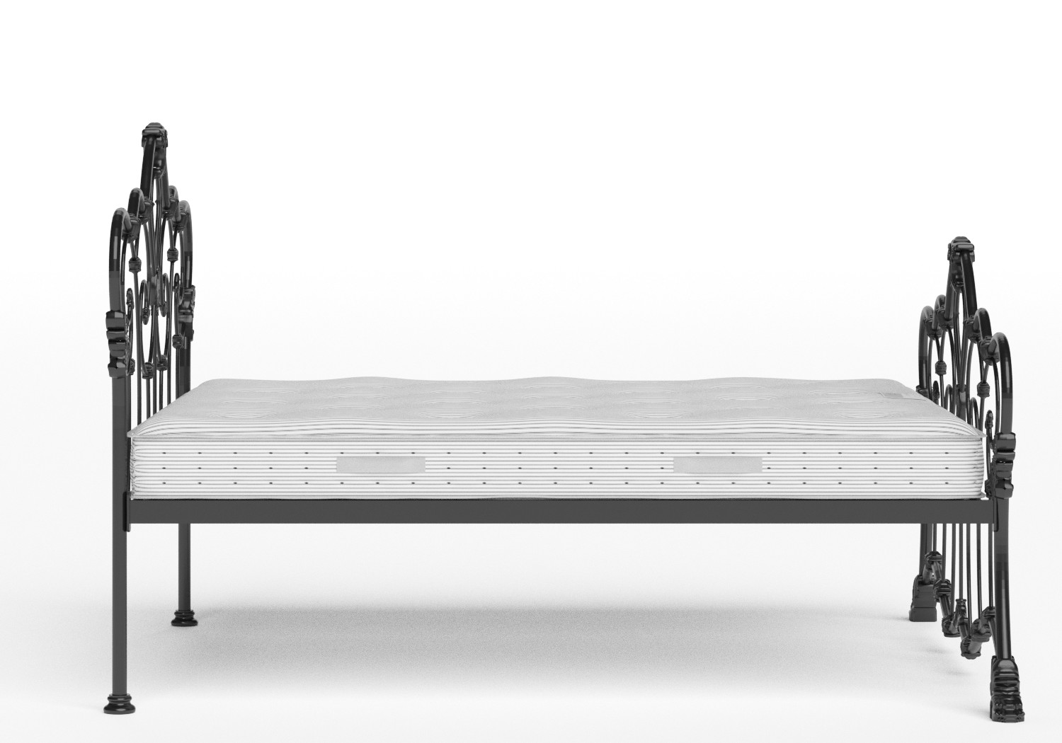 Athalone Iron/Metal Bed in Satin Black shown with Juno 1 mattress