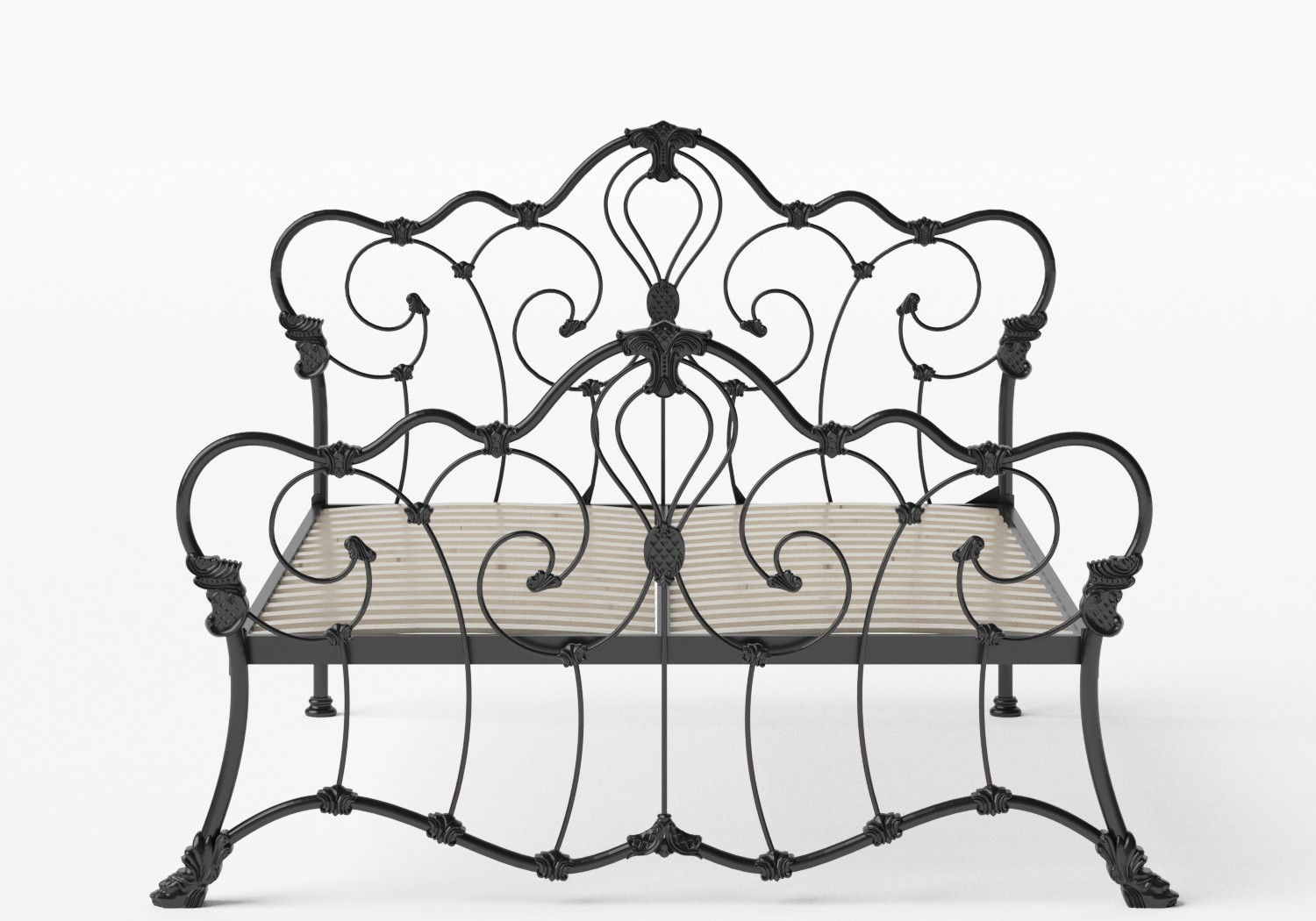Athalone Iron/Metal Bed in Satin Black shown with slatted frame