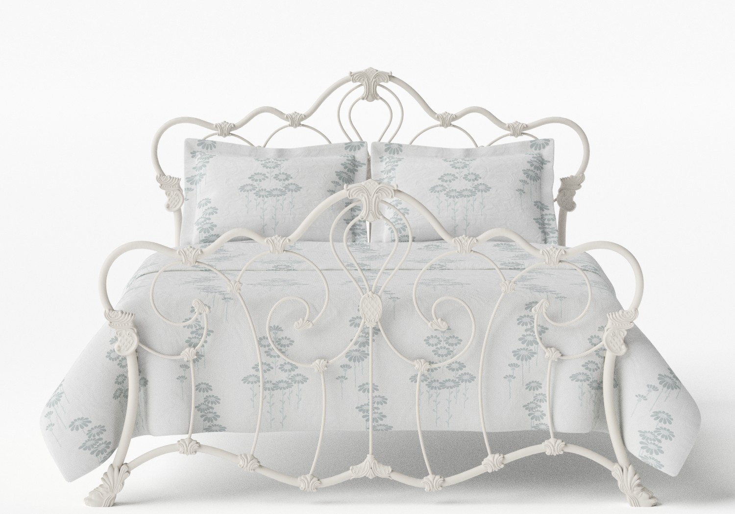 Athalone Iron/Metal Bed in Glossy Ivory
