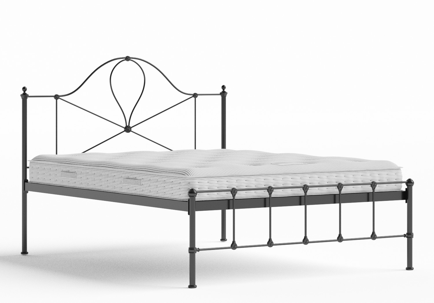 Athena Iron/Metal Bed in Satin Black shown with Juno 1 mattress