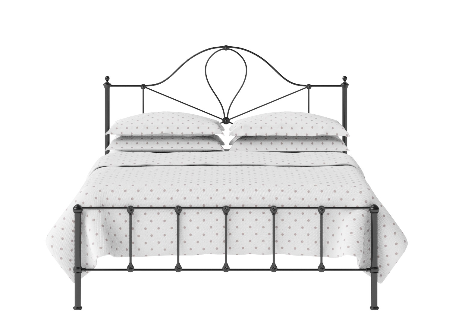 Athena Iron/Metal Bed in Satin Black