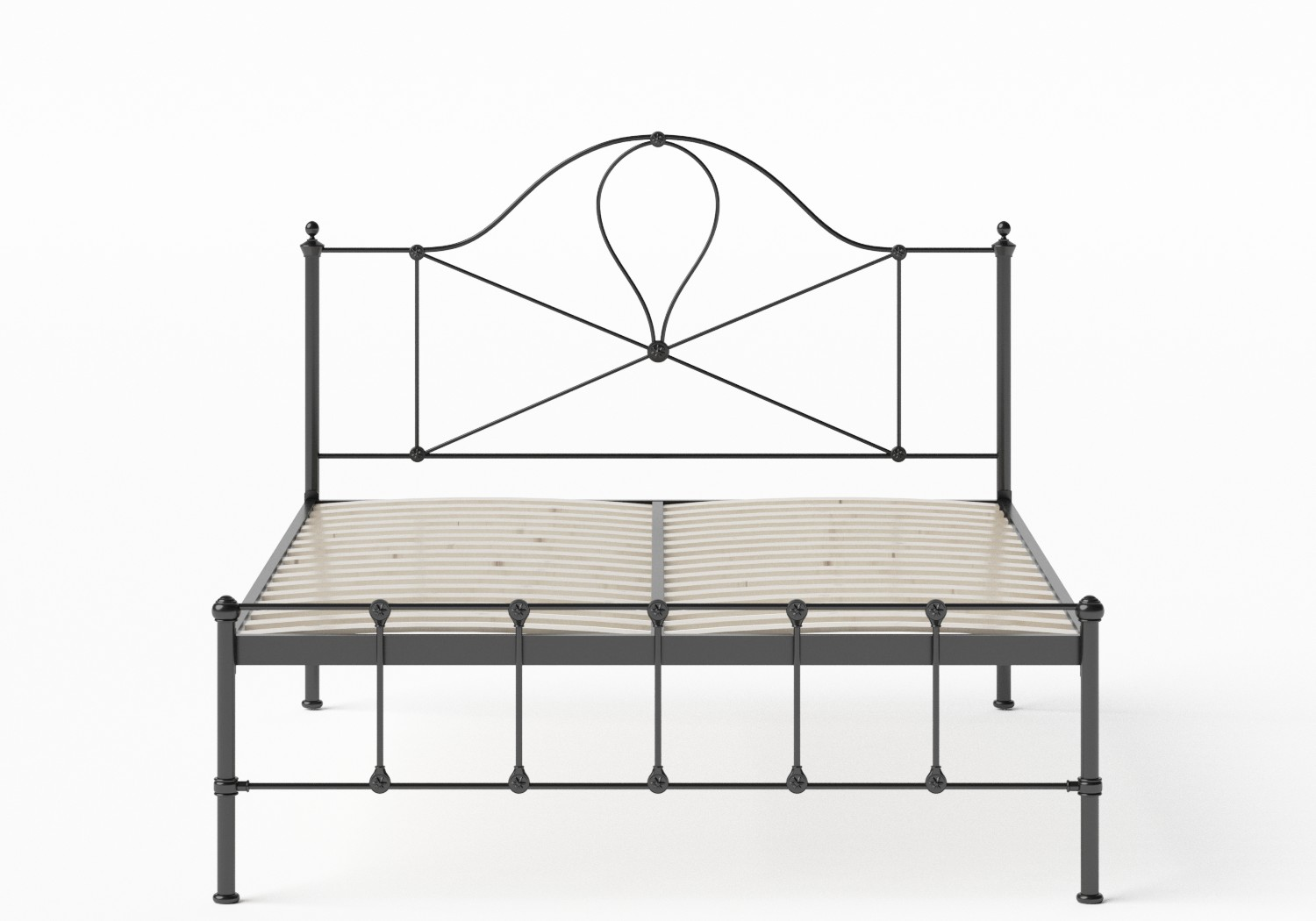 Athena Iron/Metal Bed in Satin Black shown with slatted frame