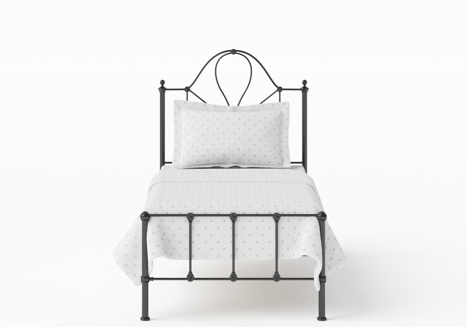 Athena Single Iron/Metal Bed in Satin Black