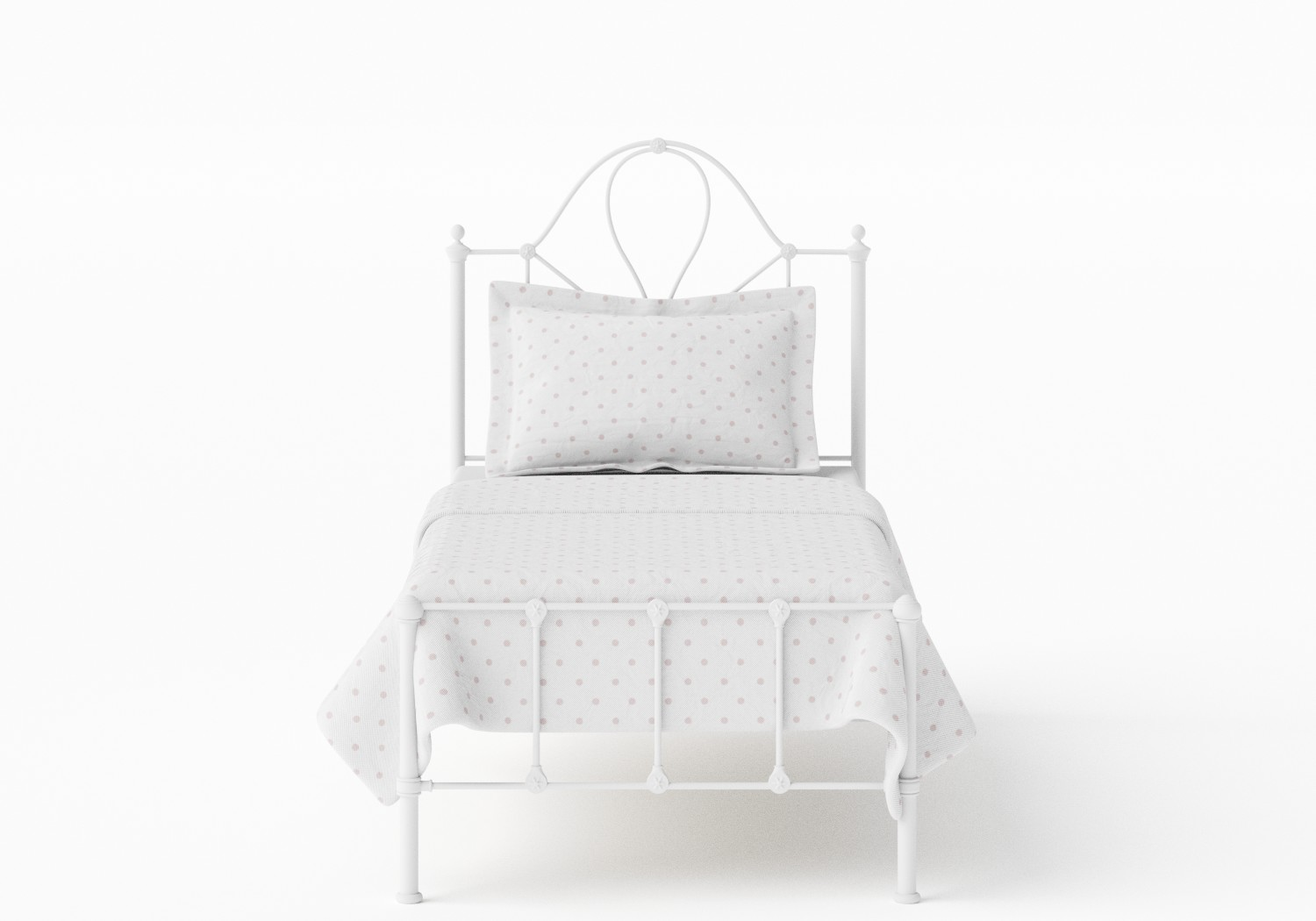 Athena Single Iron/Metal Bed in Satin White
