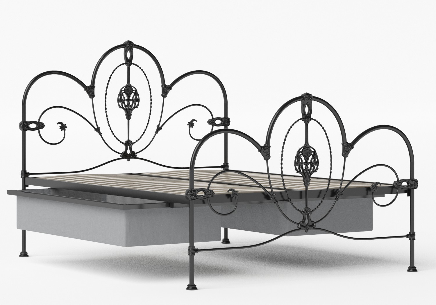 Ballina Iron/Metal Bed in Satin Black shown with underbed storage