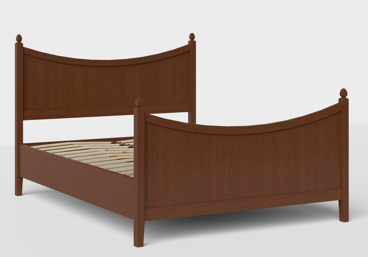 Blake Wood Bed in Dark Cherry shown with slatted frame