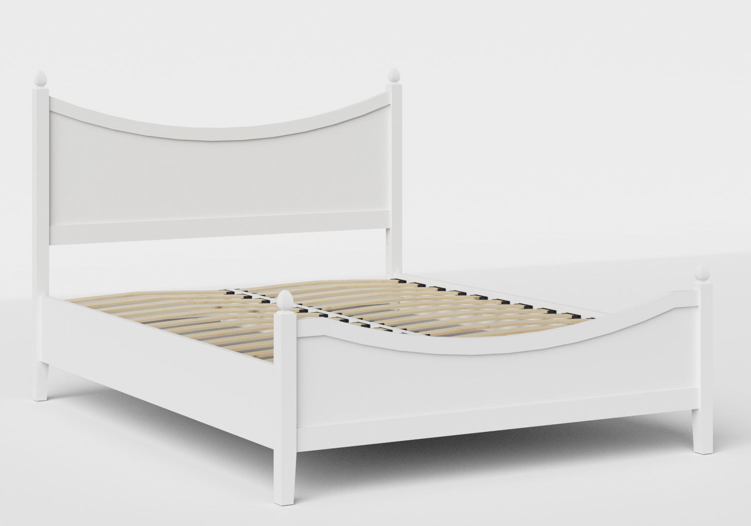 Blake Low Footend Wood Bed in White shown with slatted frame