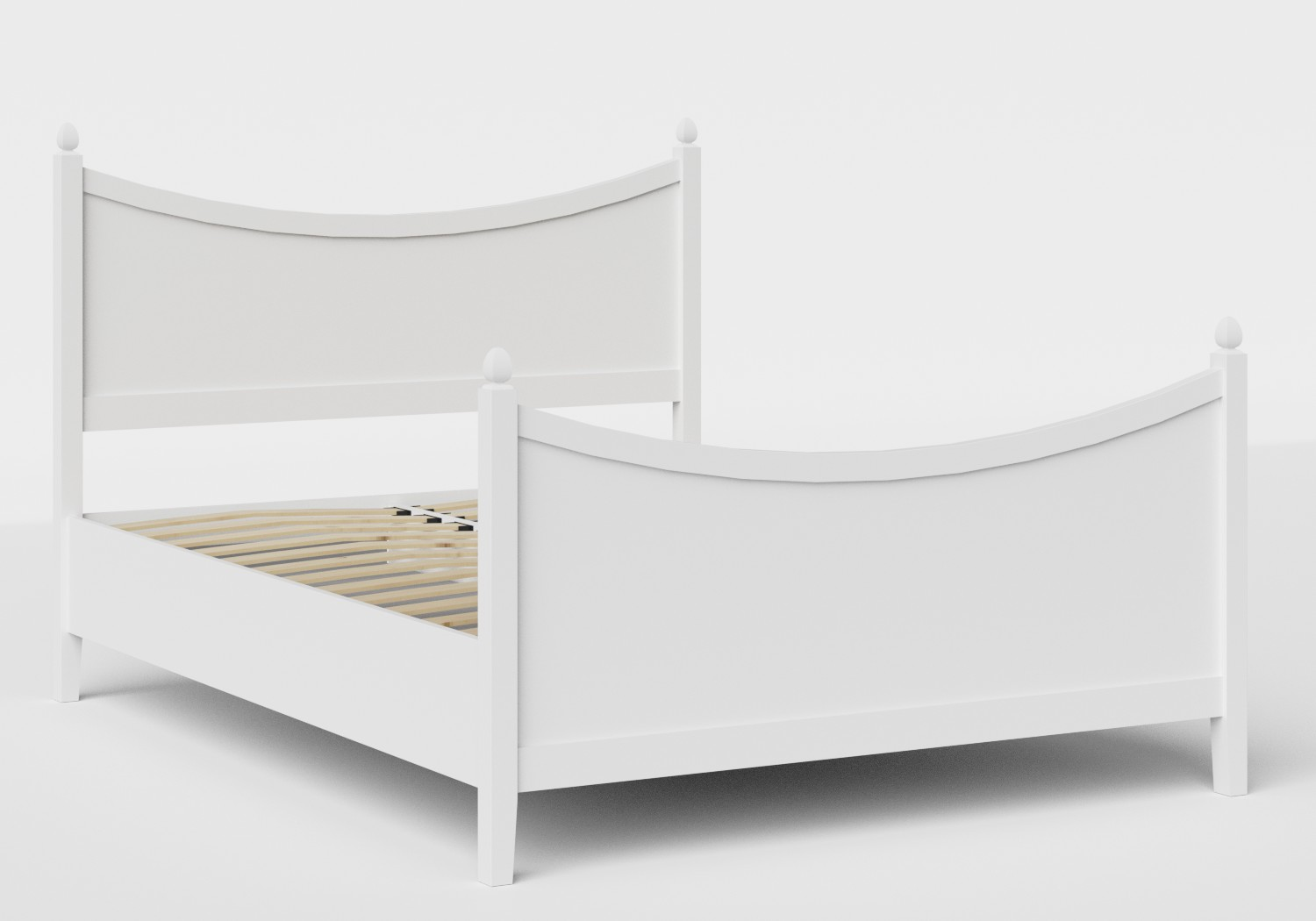 Blake Wood Bed in White shown with slatted frame