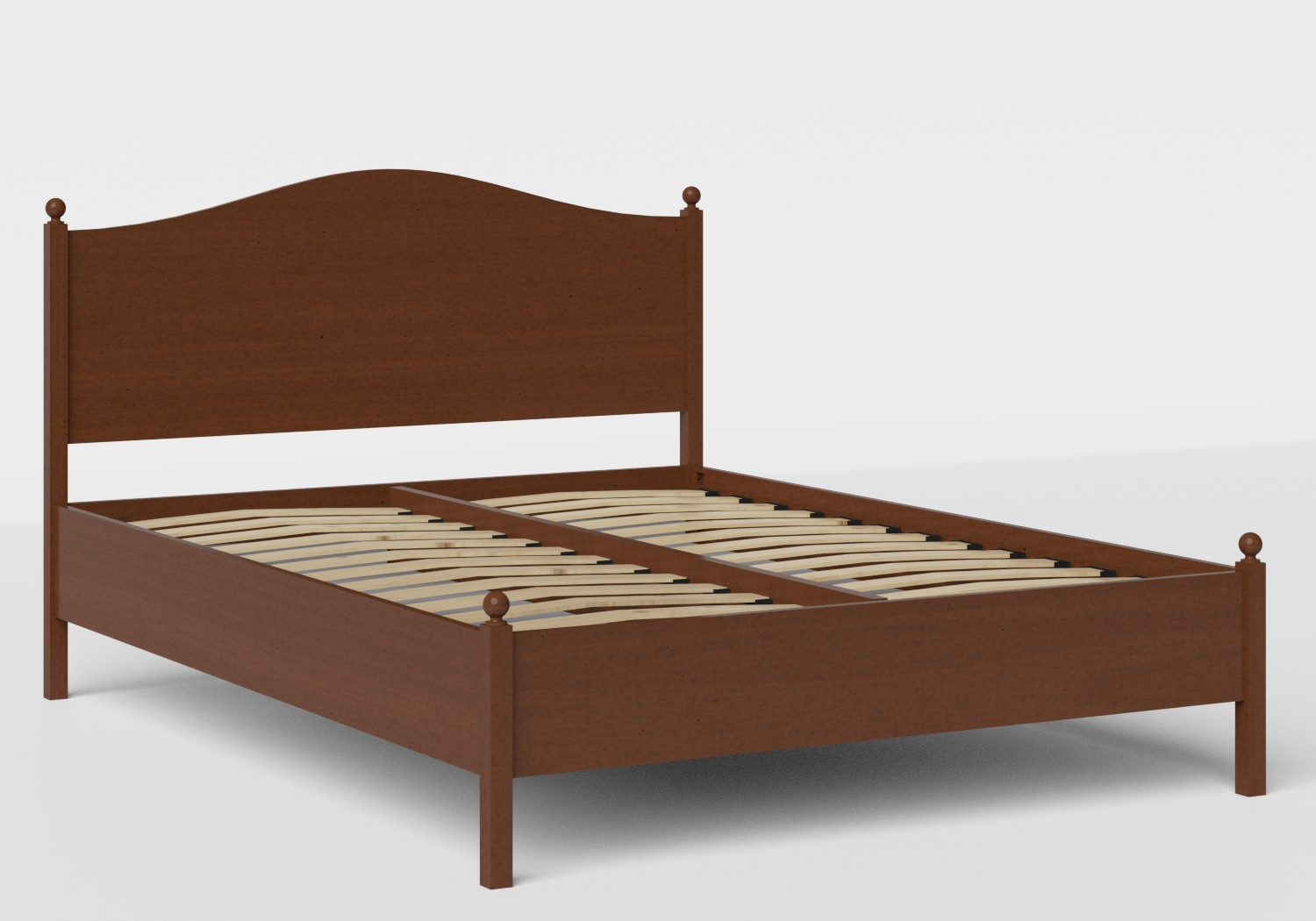 Brady Wood Bed in Dark Cherry shown with slatted frame