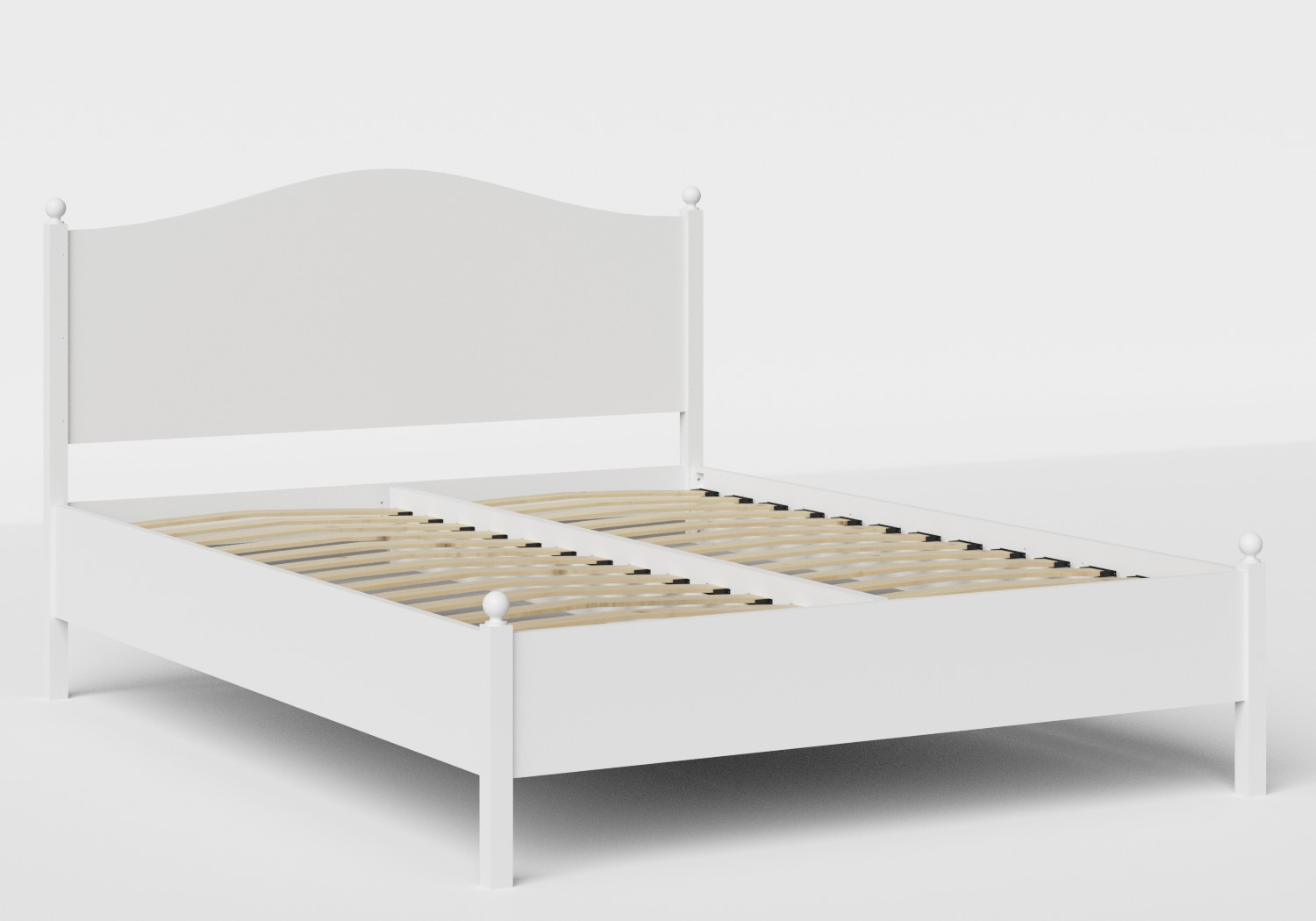Brady Wood Bed in White shown with slatted frame
