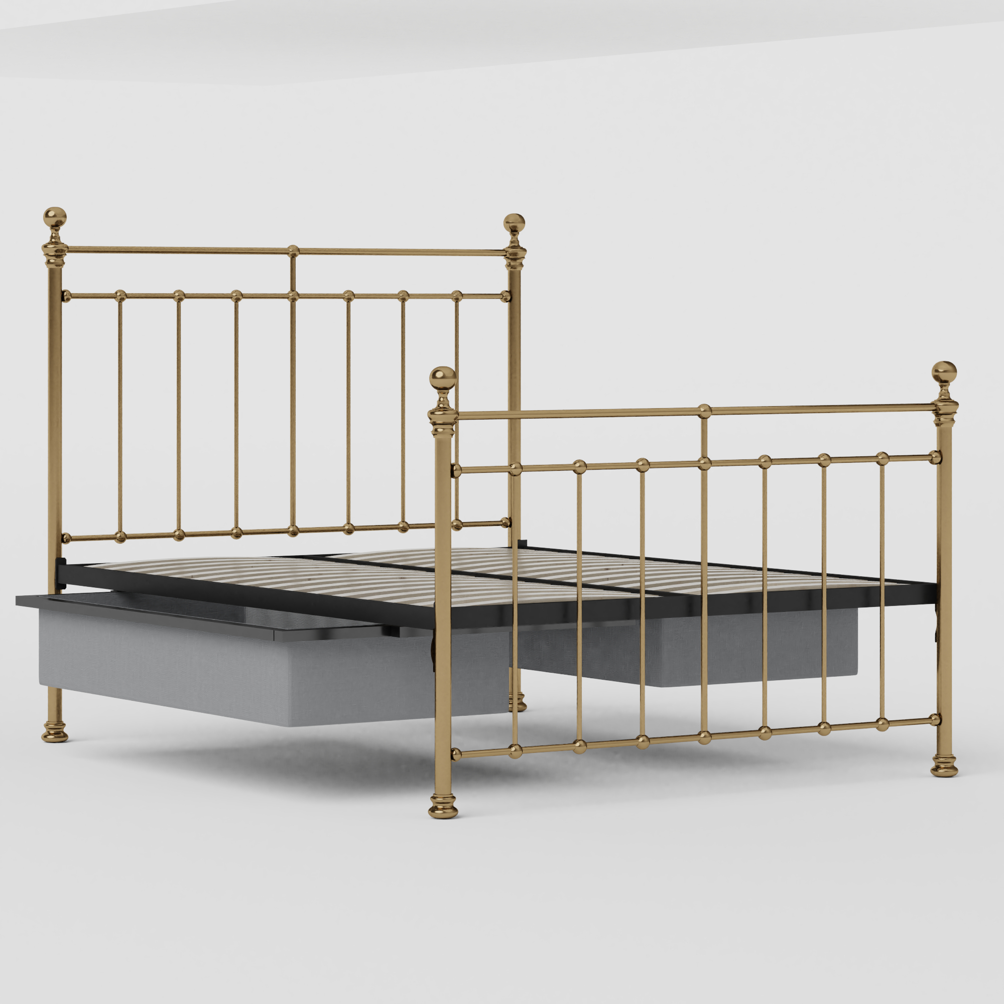 Blyth brass bed with drawers