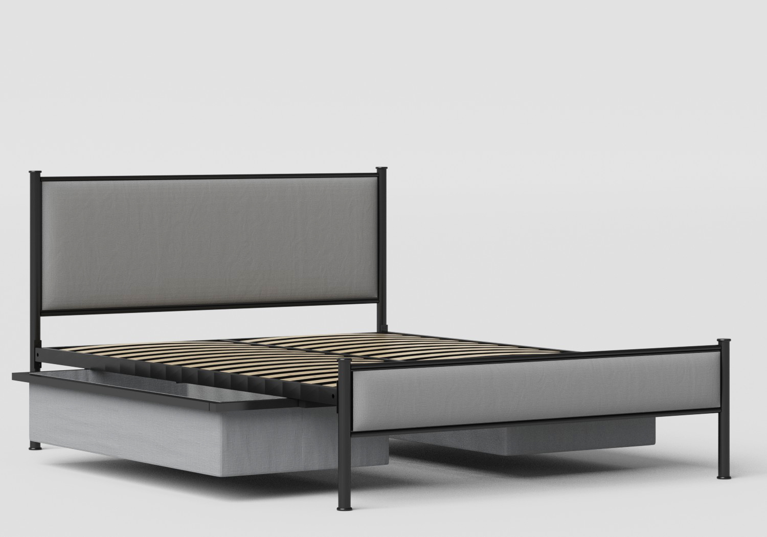 Brest Iron/Metal Upholstered Bed in Satin Black with Grey Fabric shown with underbed storage