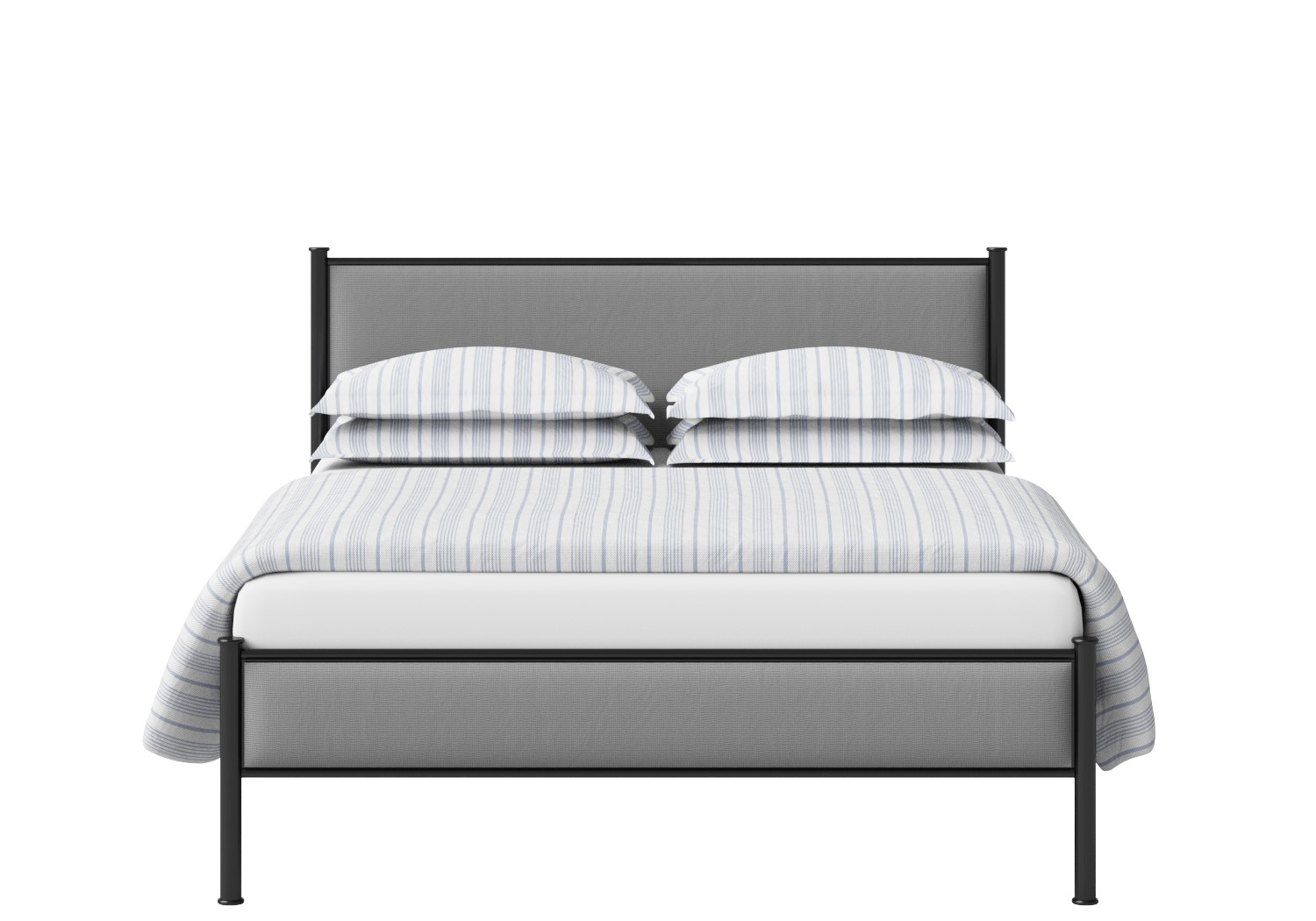 Brest Iron/Metal Upholstered Bed in Satin Black with Grey Fabric