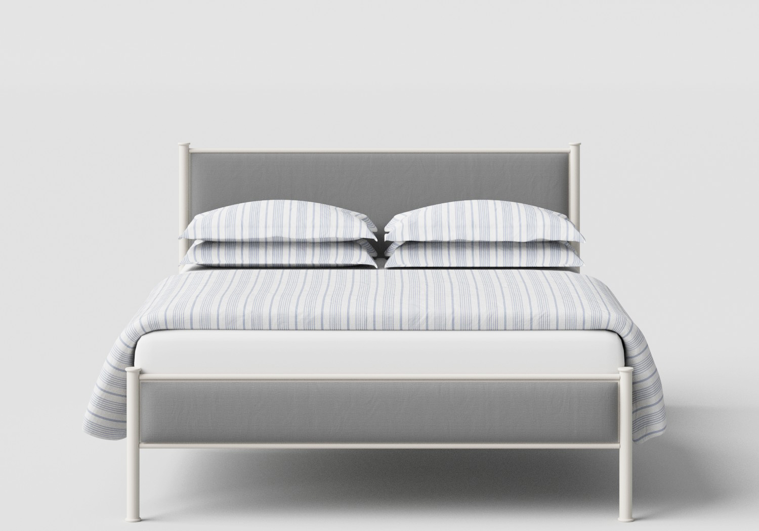 Brest Iron/Metal Upholstered Bed in Glossy Ivory with Grey Fabric