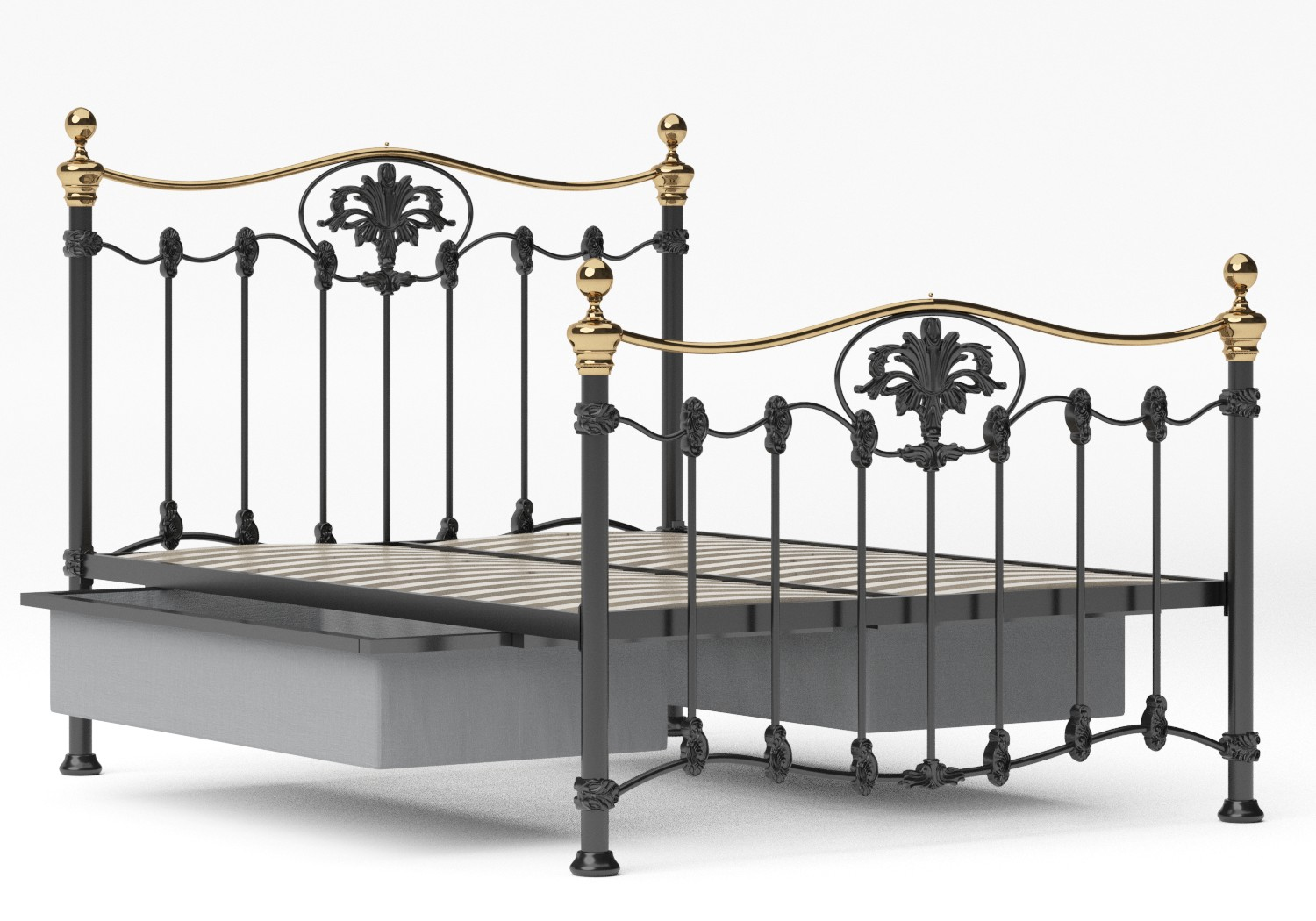 Camolin Iron/Metal Bed in Satin Black with Brass details shown with underbed storage
