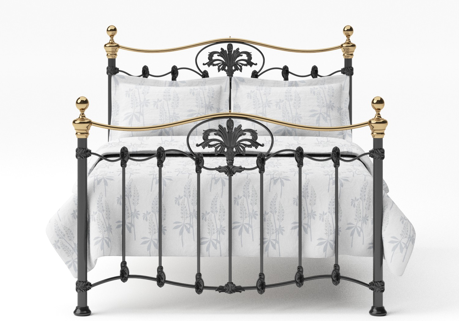 Camolin Iron/Metal Bed in Satin Black with Brass details