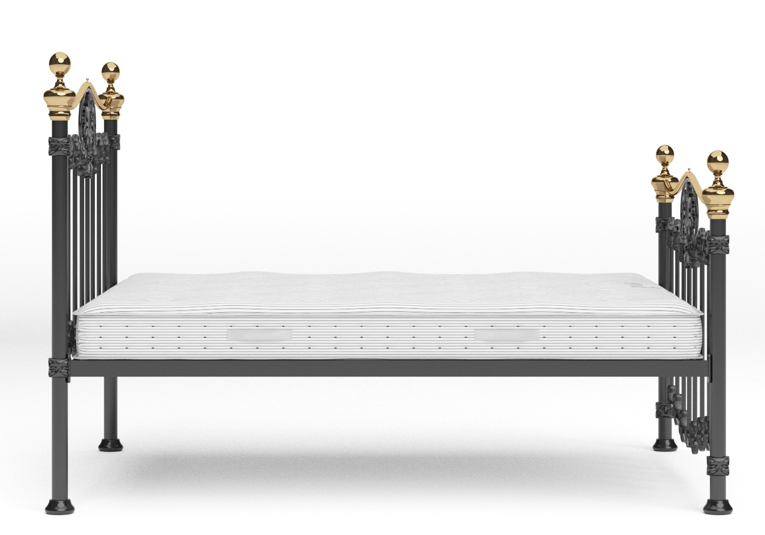 Camolin Iron/Metal Bed in Satin Black with Brass details shown with Juno 1 mattress