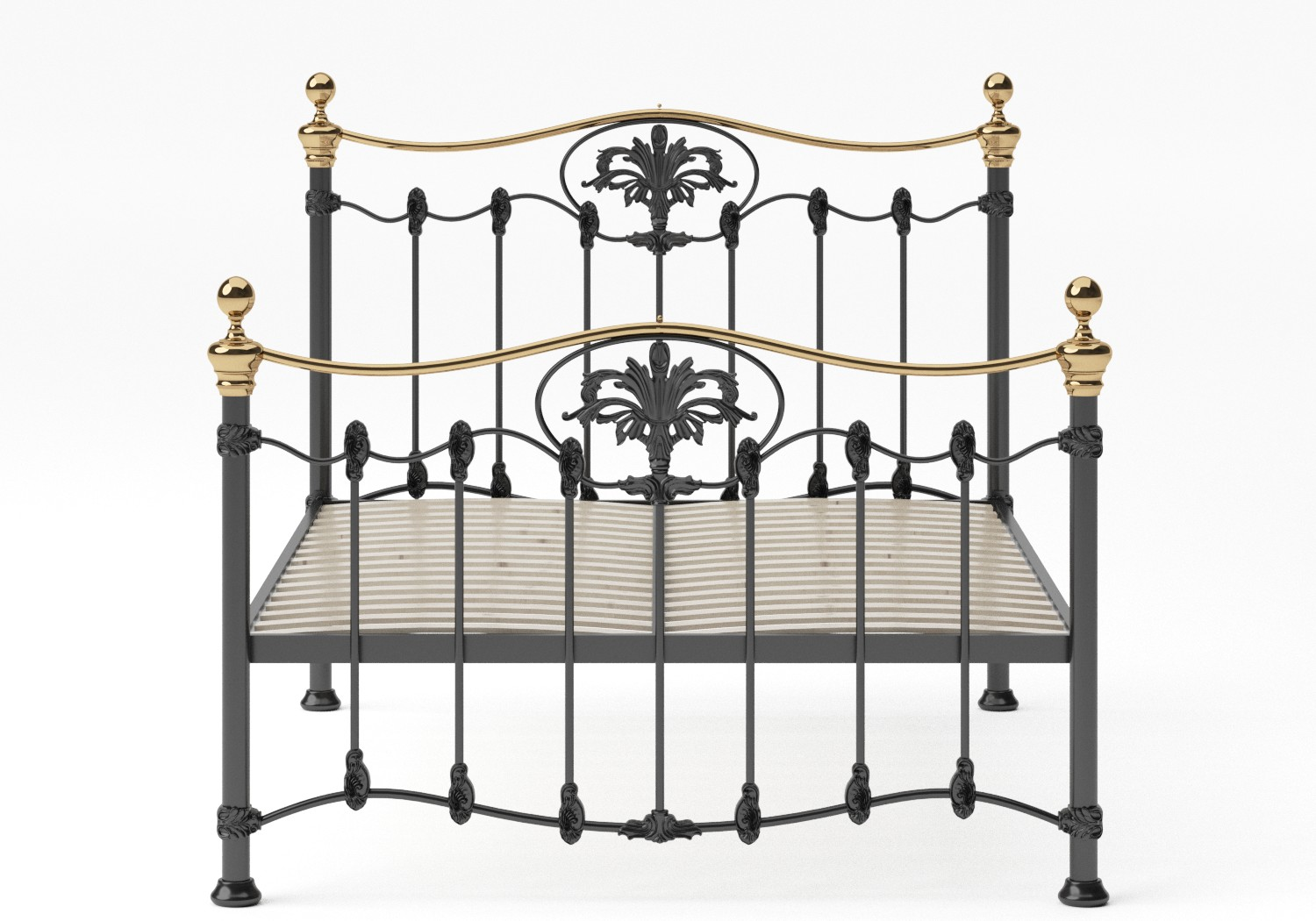 Camolin Iron/Metal Bed in Satin Black with Brass details and slatted frame