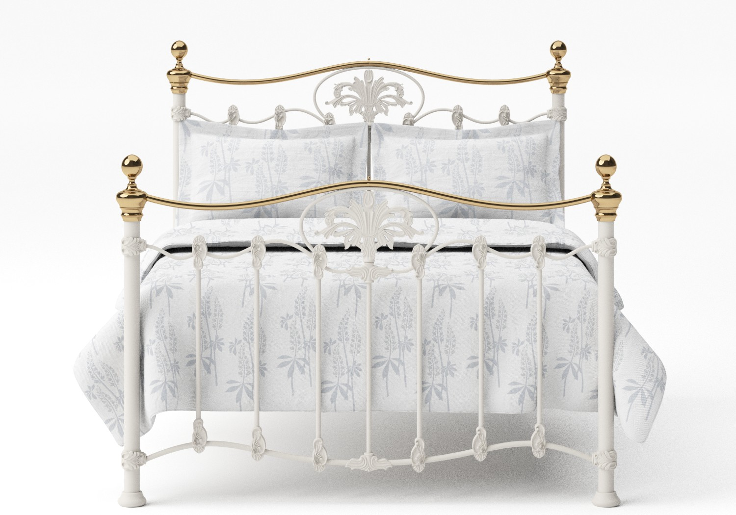 Camolin Iron/Metal Bed in Glossy Ivory with Brass details