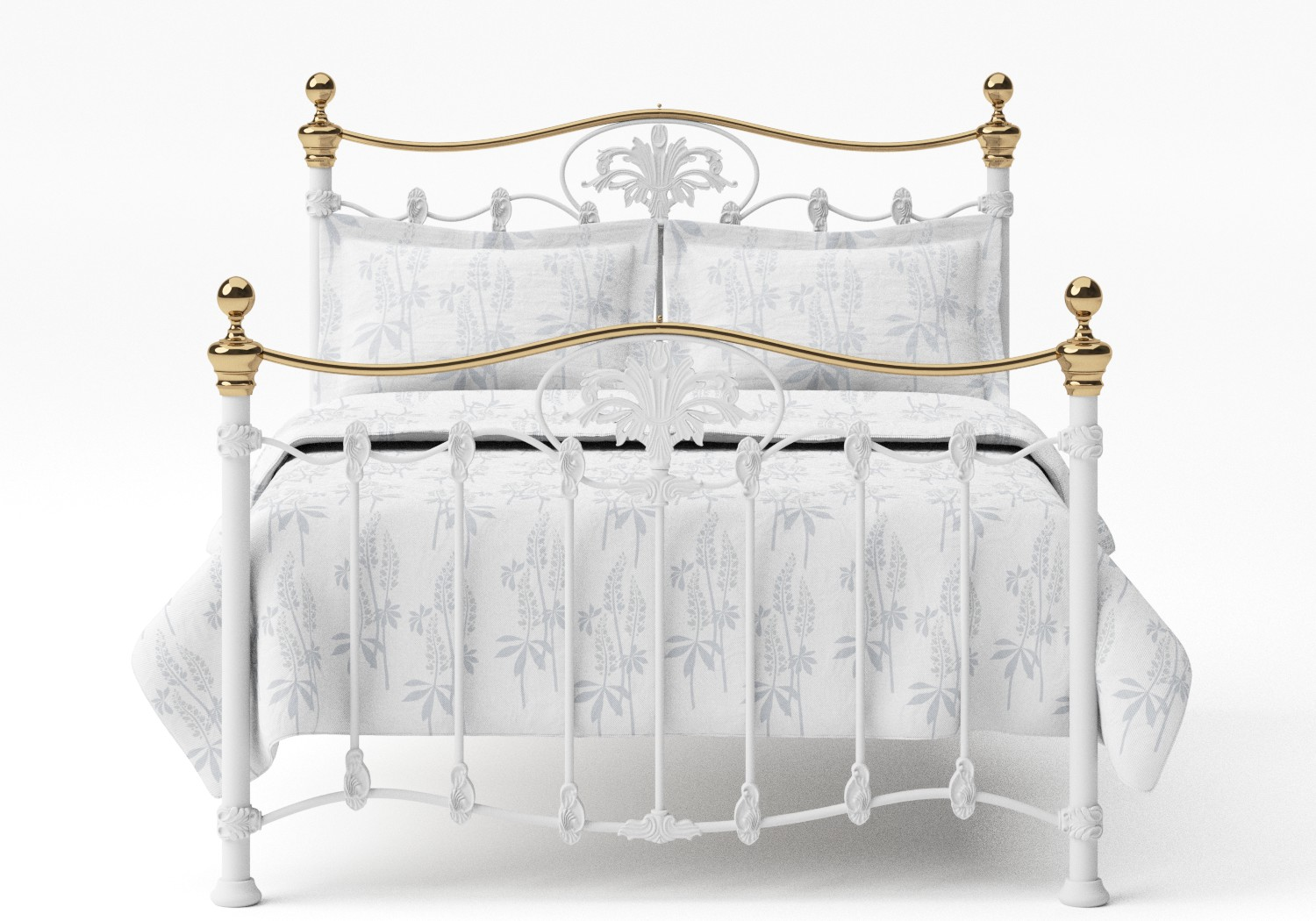 Camolin Iron/Metal Bed in Satin White with Brass details