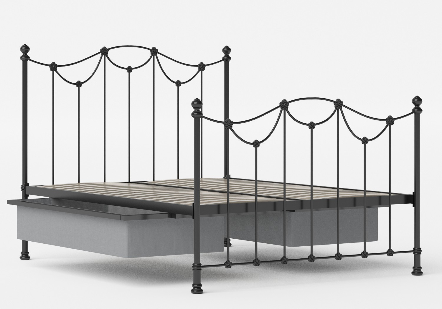 Carie Iron/Metal Bed in Satin Black shown with underbed storage