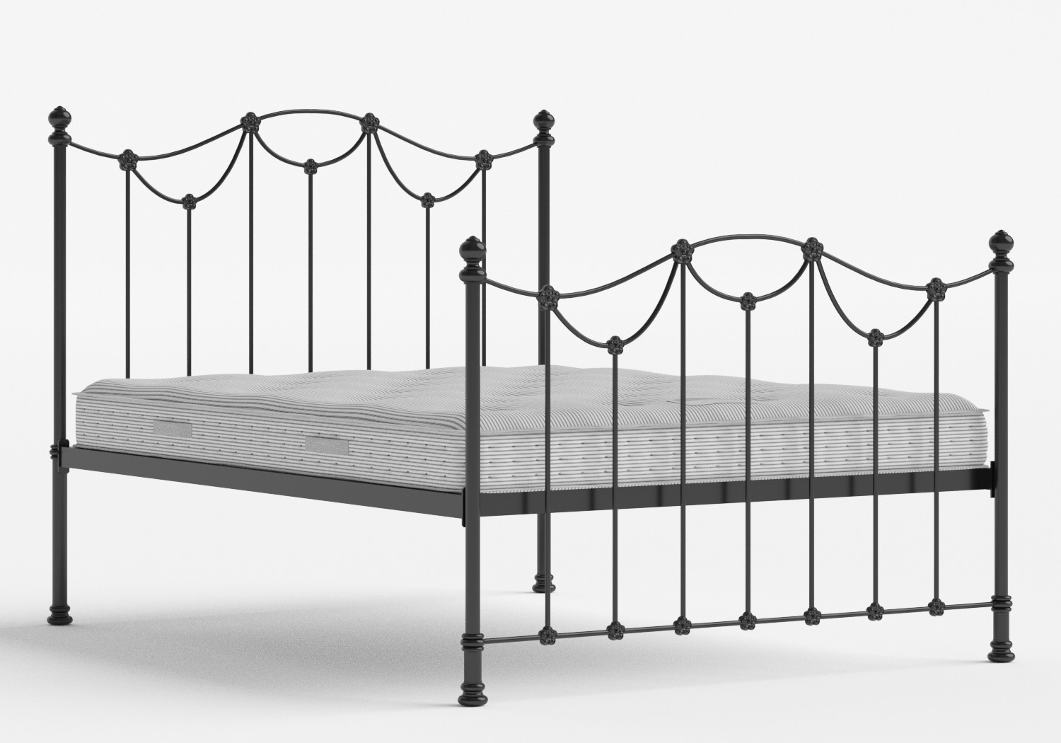 Carie Iron/Metal Bed in Satin Black shown with Juno 1 mattress