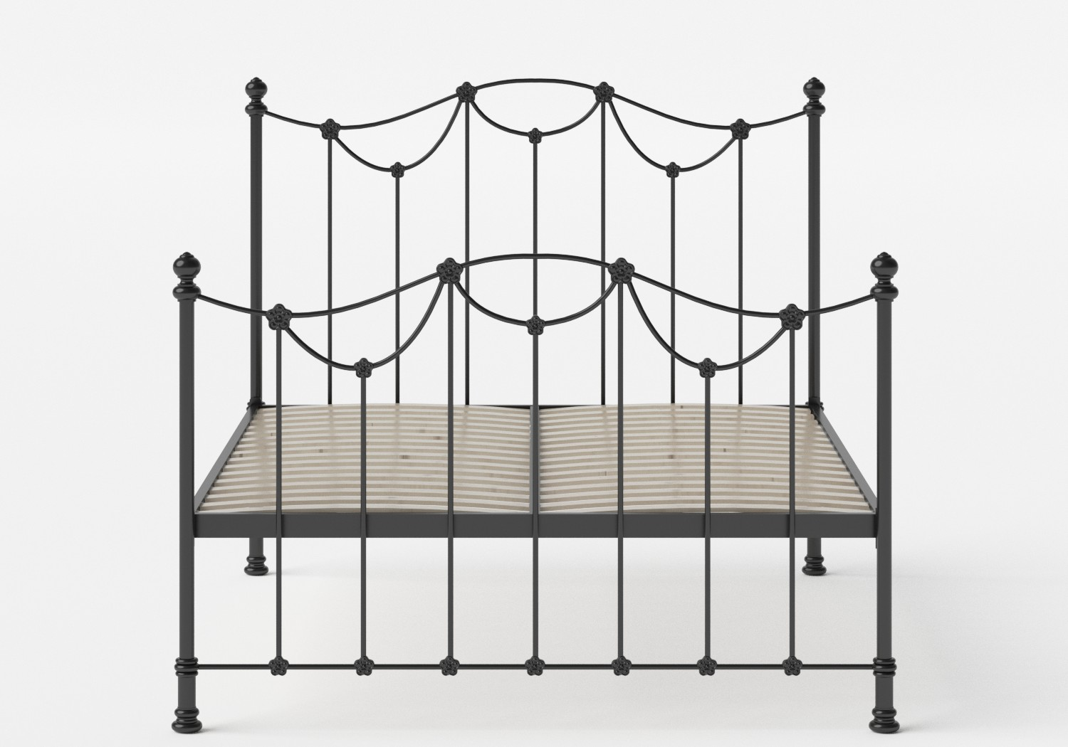 Carie Iron/Metal Bed in Satin Black shown with slatted frame