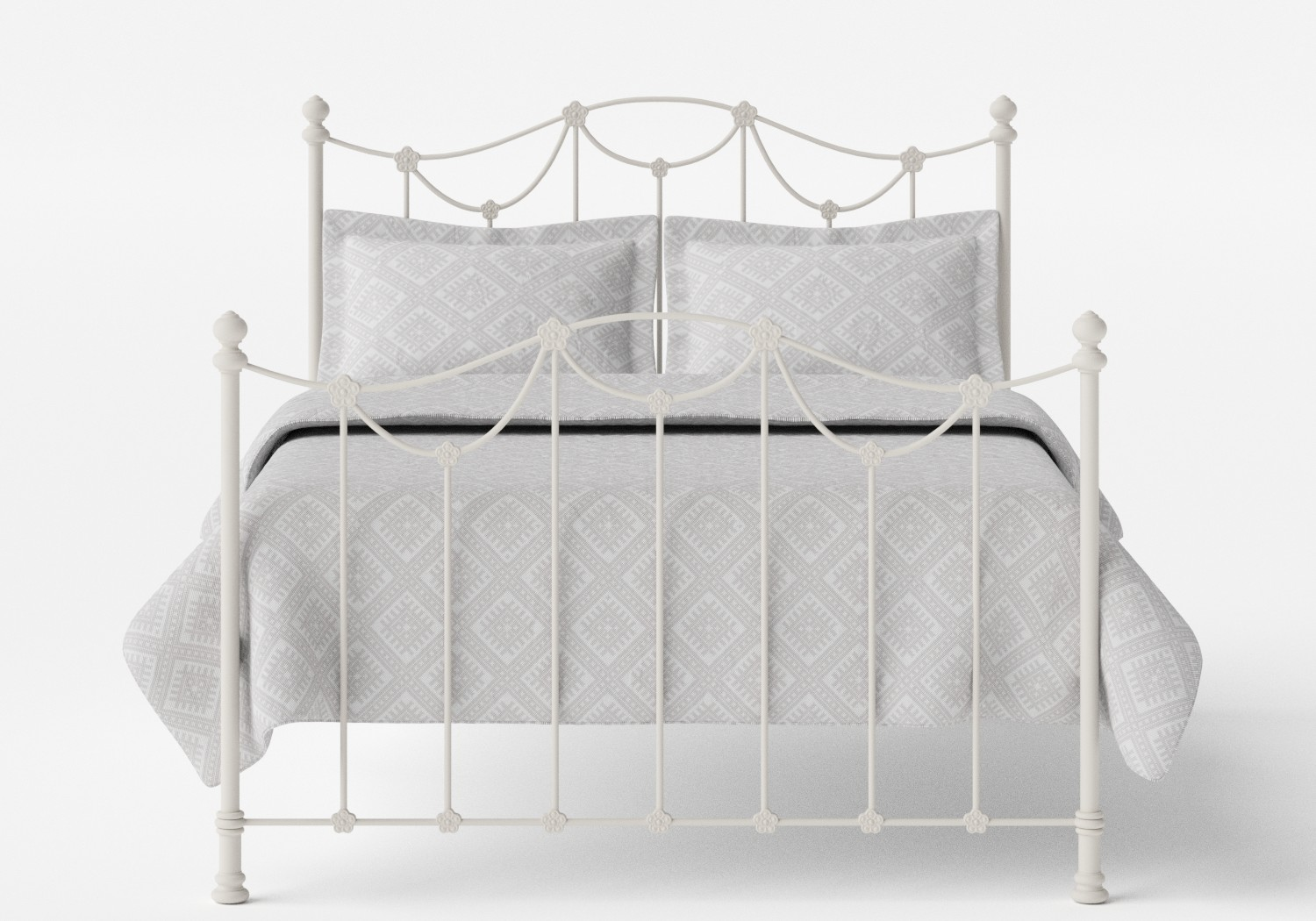Carie Iron/Metal Bed in Glossy Ivory