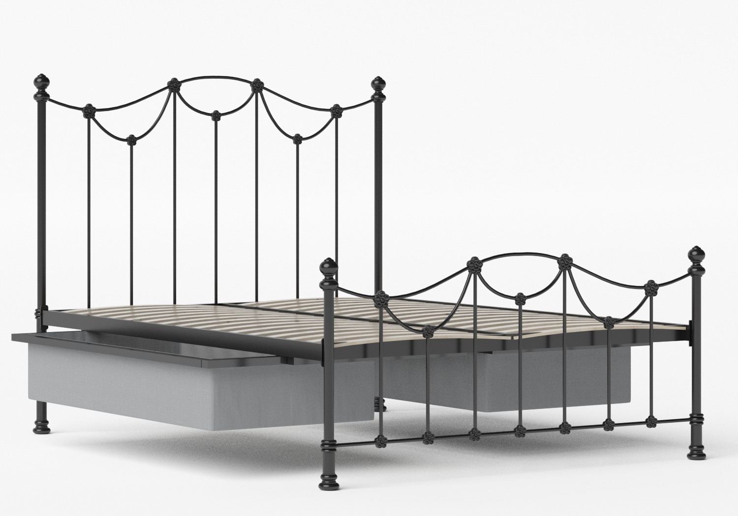 Carie Low Footend Iron/Metal Bed in Satin Black shown with underbed storage