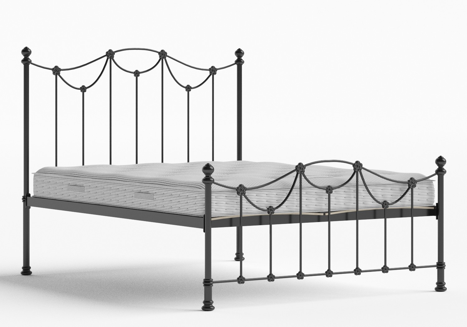 Carie Low Footend Iron/Metal Bed in Satin Black shown with Juno 1 mattress