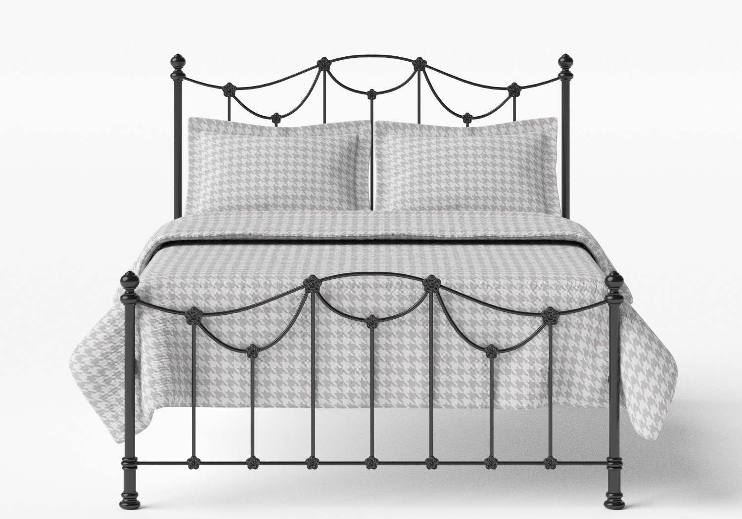Carie Low Footend Iron/Metal Bed in Satin Black