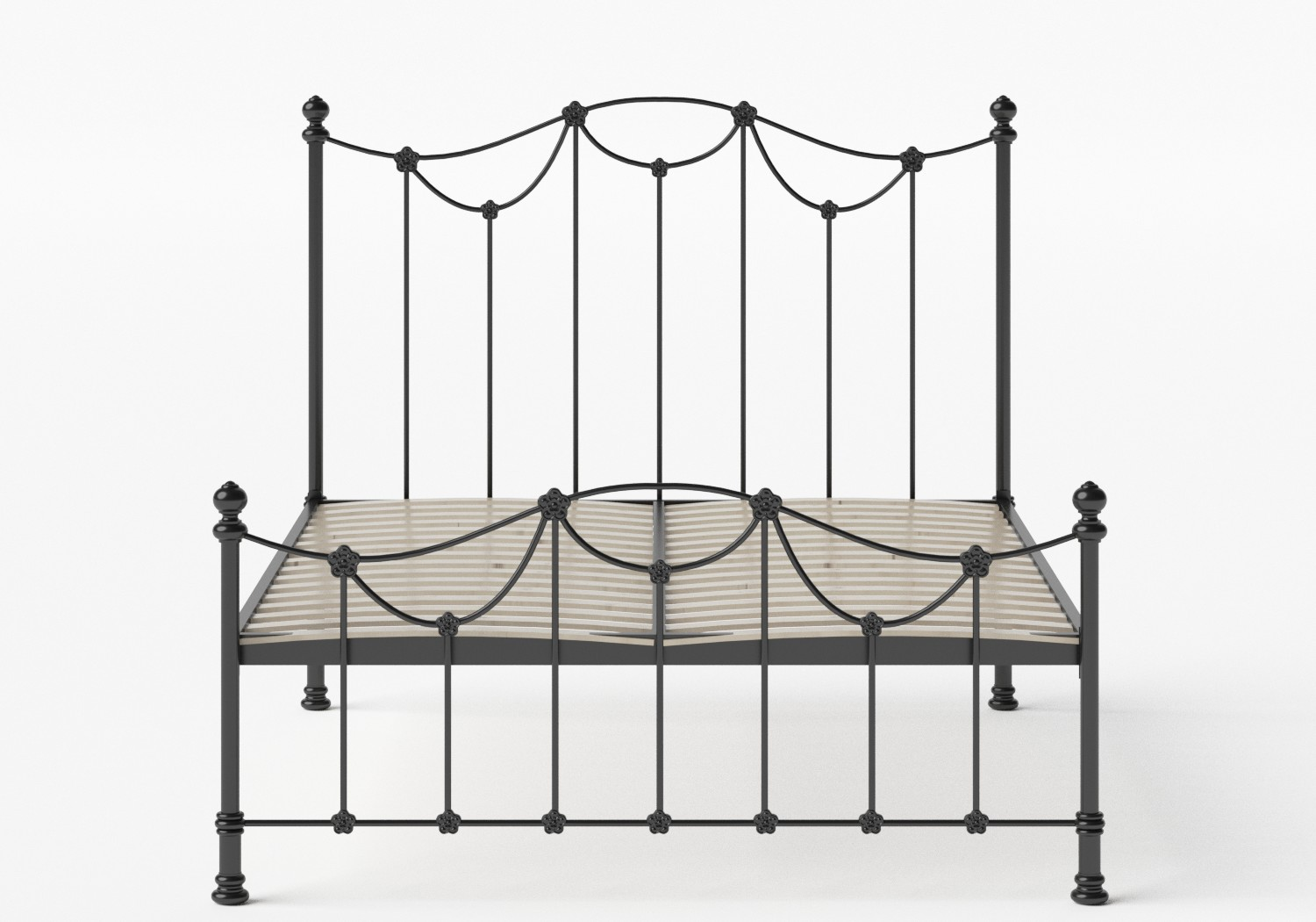 Carie Low Footend Iron/Metal Bed in Satin Black shown with slatted frame