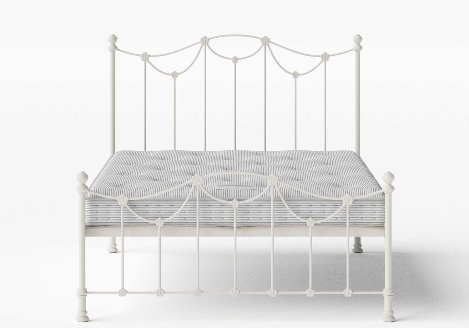 Carie Low Footend Iron/Metal Bed in Glossy Ivory shown with Juno 1 mattress
