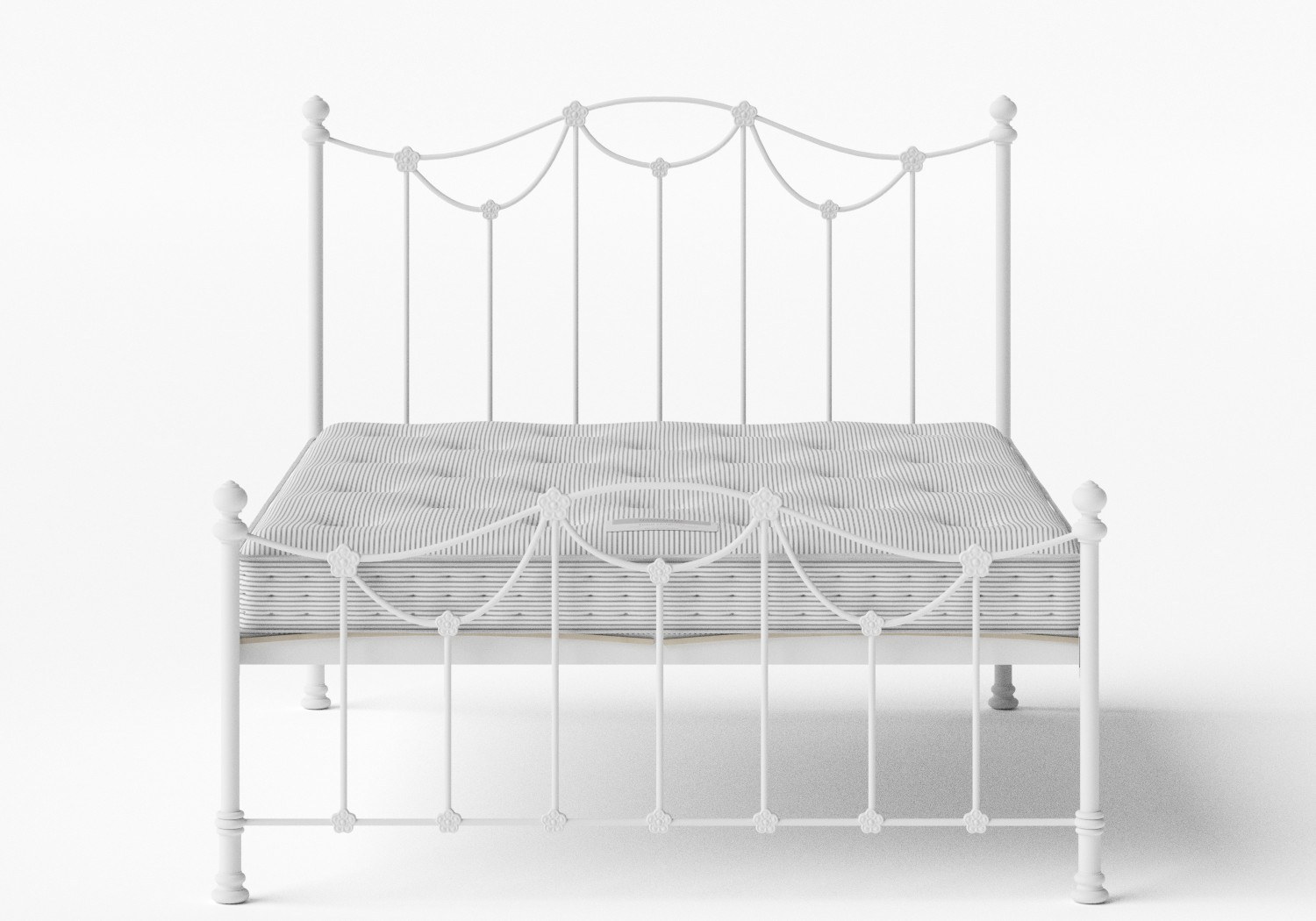 Carie Low Footend Iron/Metal Bed in Satin White shown with Juno 1 mattress