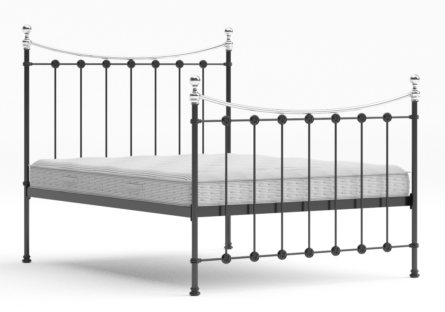 Carrick Iron/Metal Bed in Satin Black with chrome details shown with Juno 1 mattress