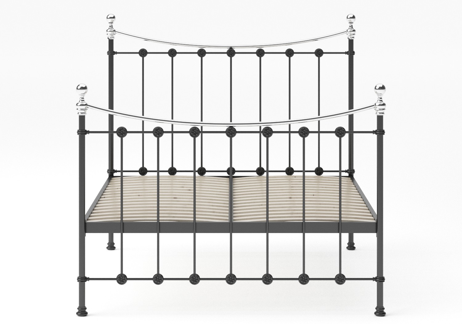 Carrick Iron/Metal Bed in Satin Black with chrome details shown with slatted frame