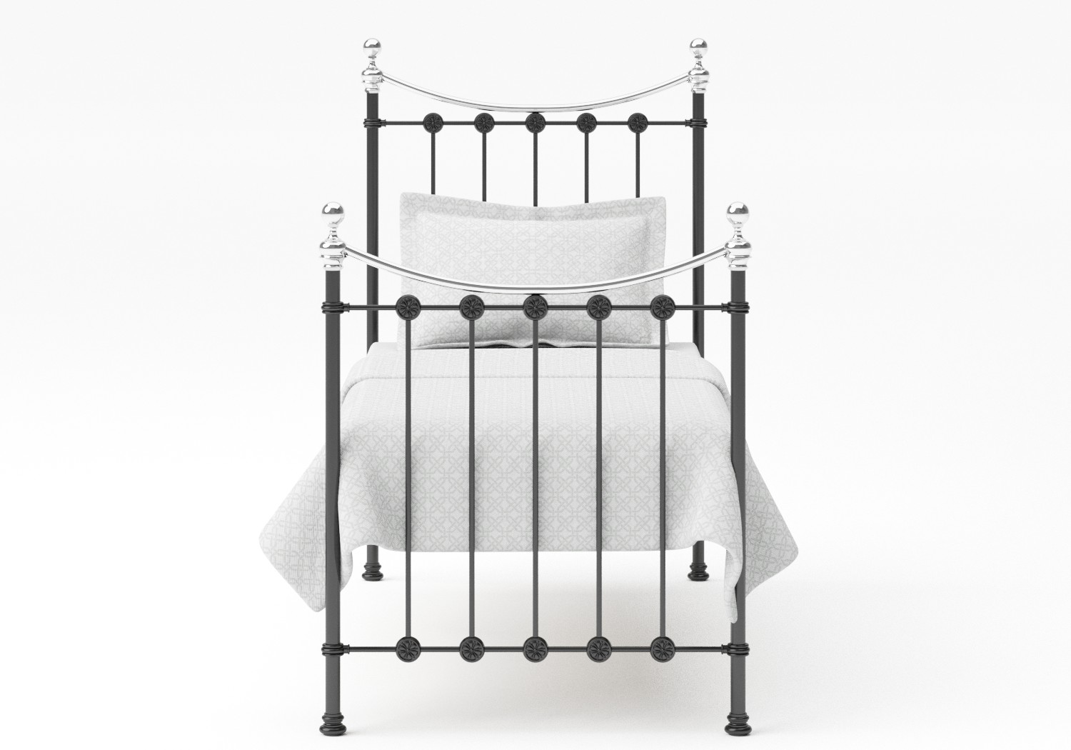 Carrick Single Iron/Metal Bed in Satin Black with Chrome details