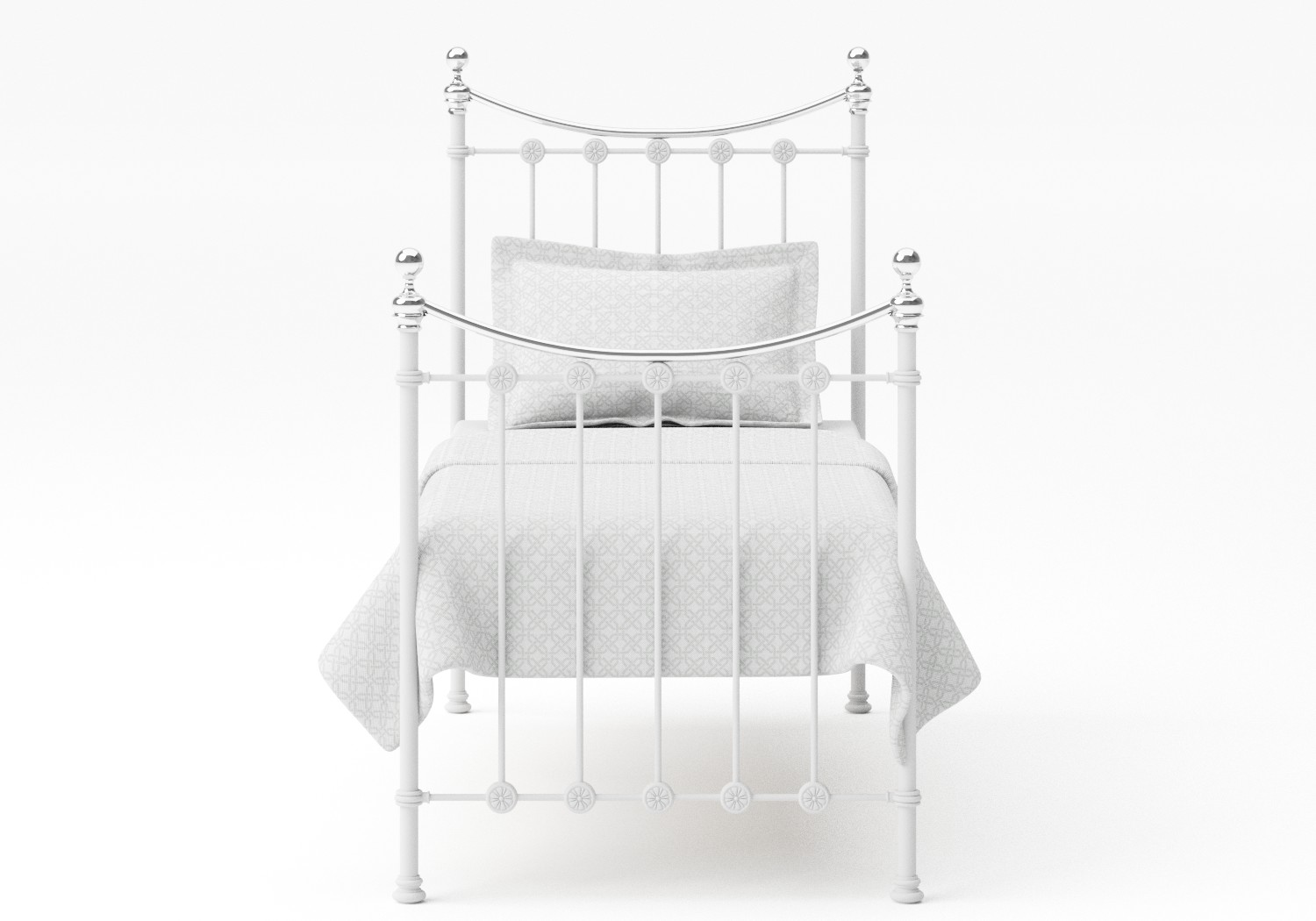 Carrick Single Iron/Metal Bed in Satin White with Chrome details