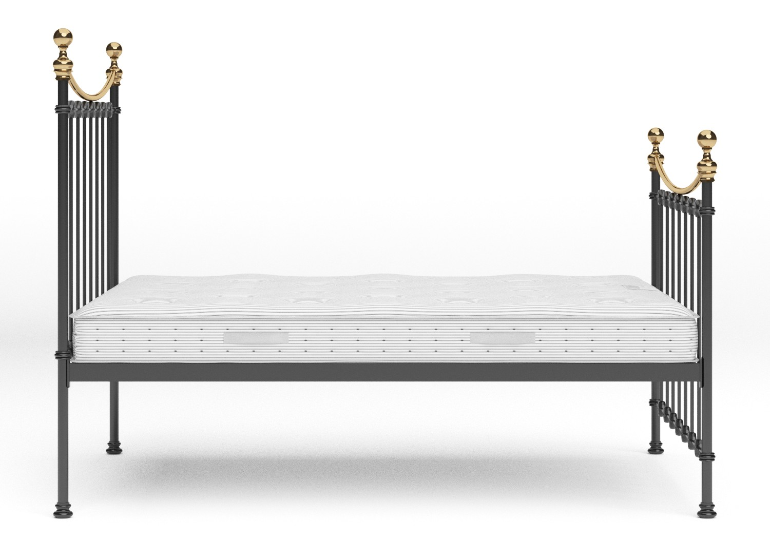 Carrick Iron/Metal Bed in Satin Black with brass details shown with Juno 1 mattress