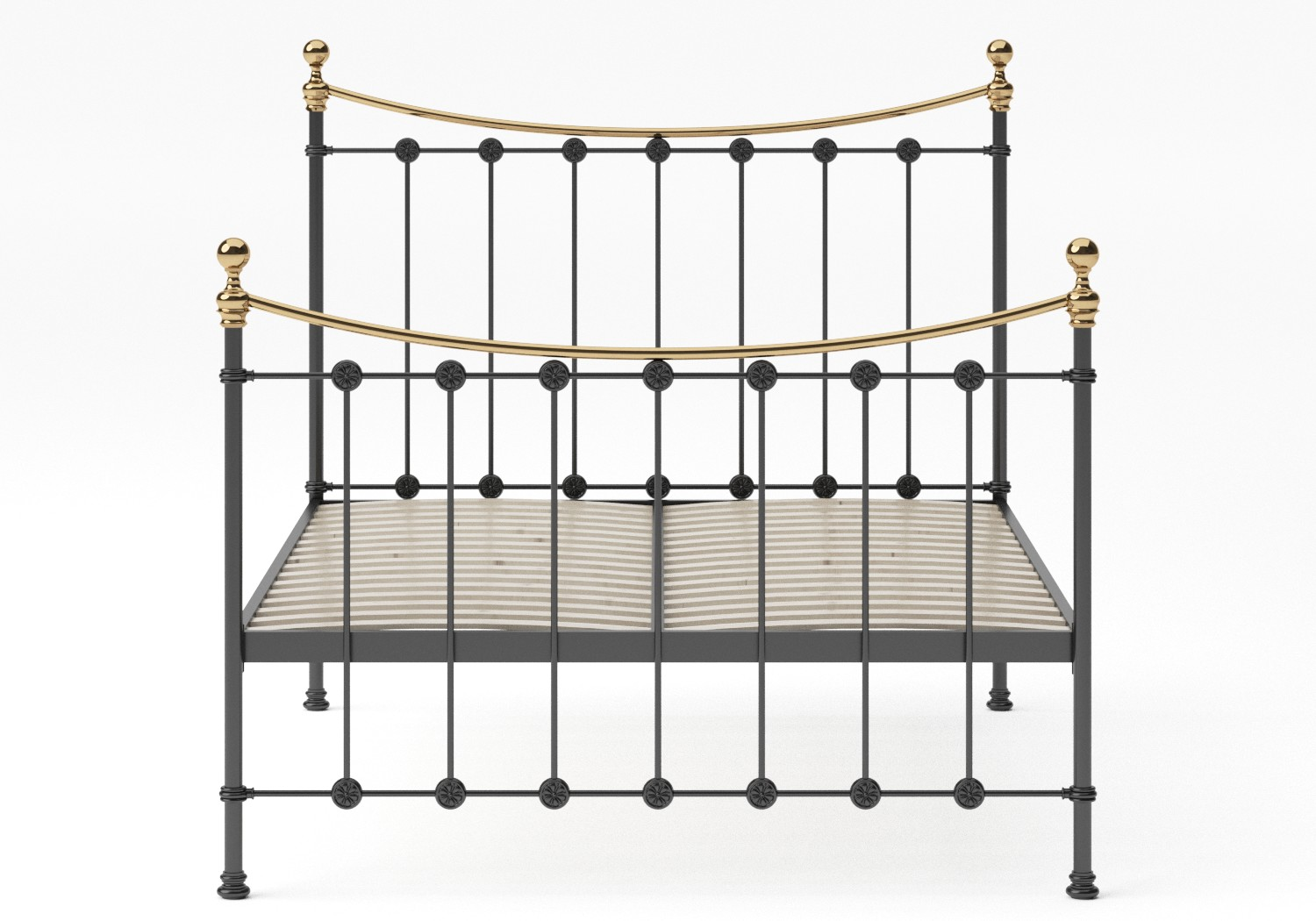 Carrick Iron/Metal Bed in Satin Black with brass details shown with slatted frame