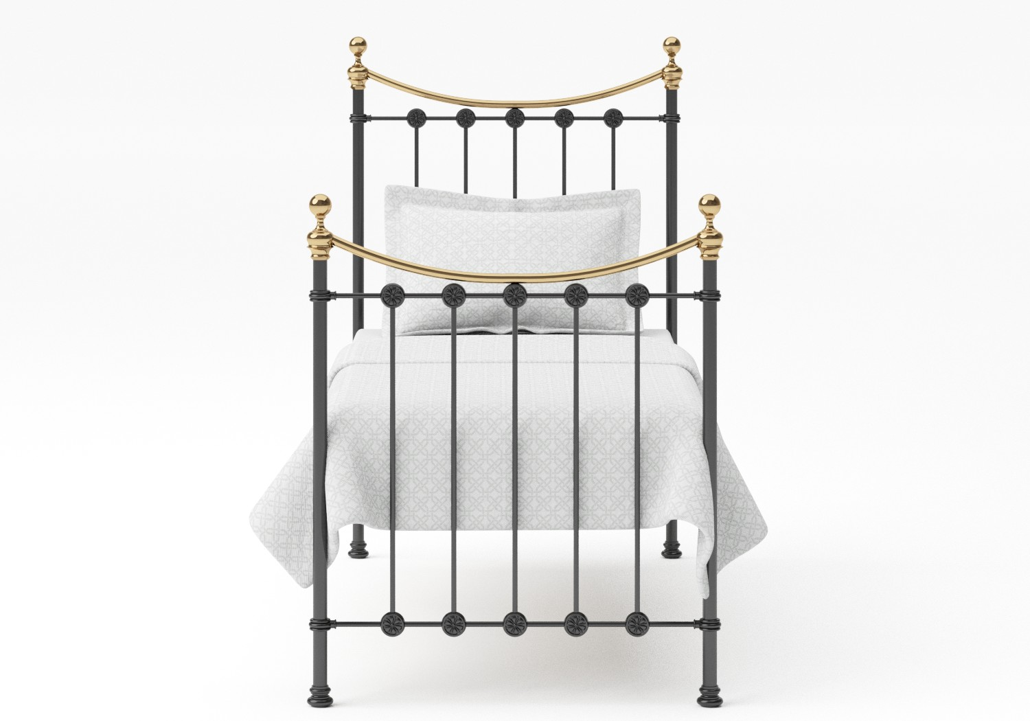 Carrick Single Iron/Metal Bed in Satin Black with brass details