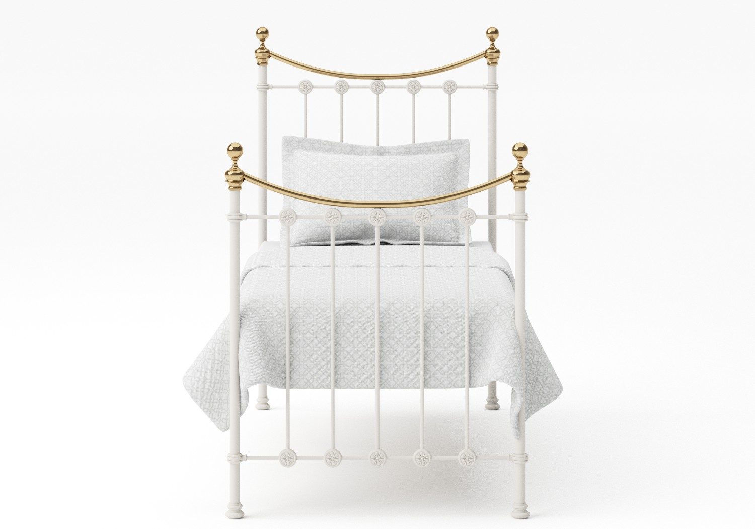 Carrick Single Iron/Metal Bed in Glossy Ivory with brass details
