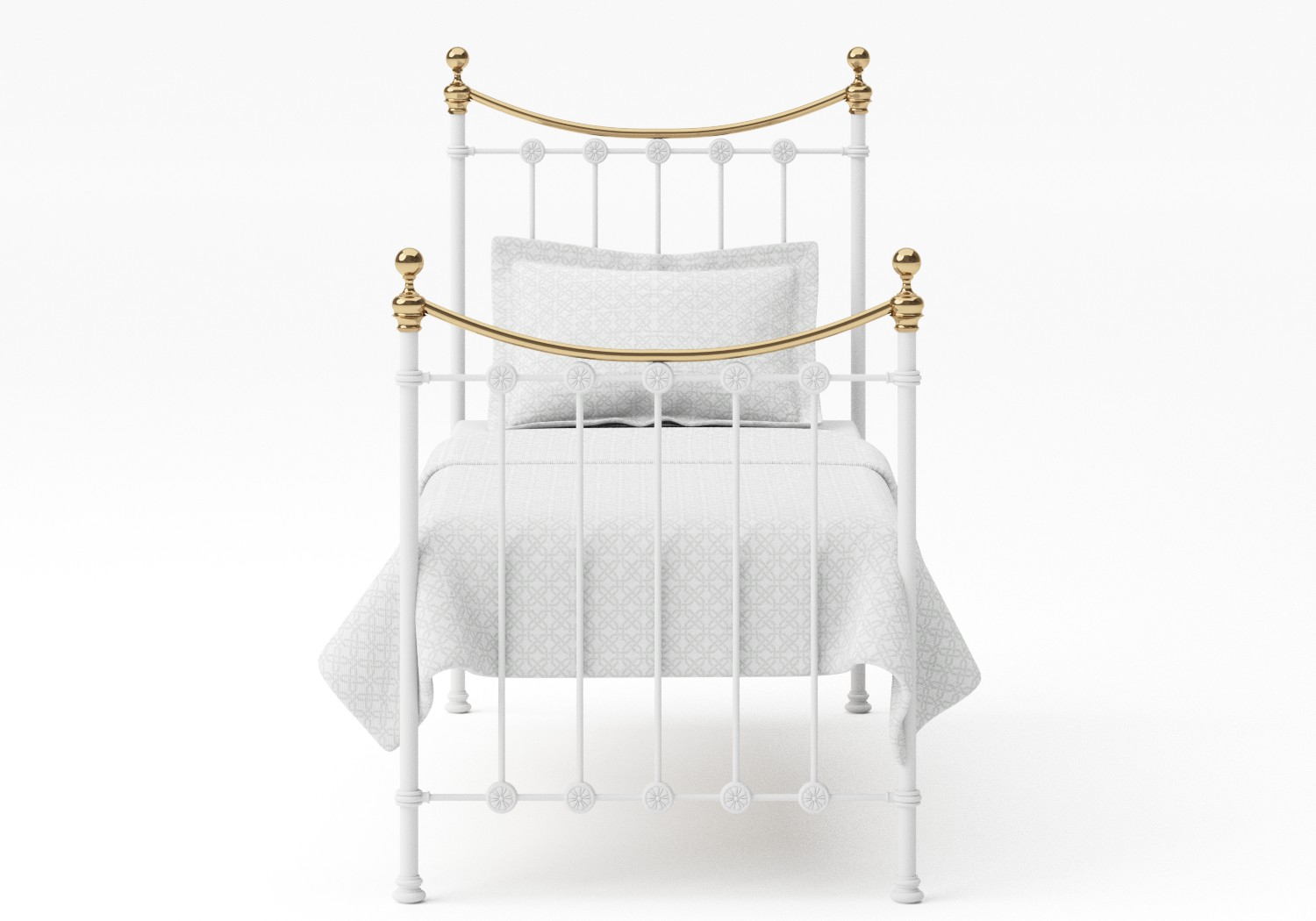 Carrick Single Iron/Metal Bed in Satin White with brass details