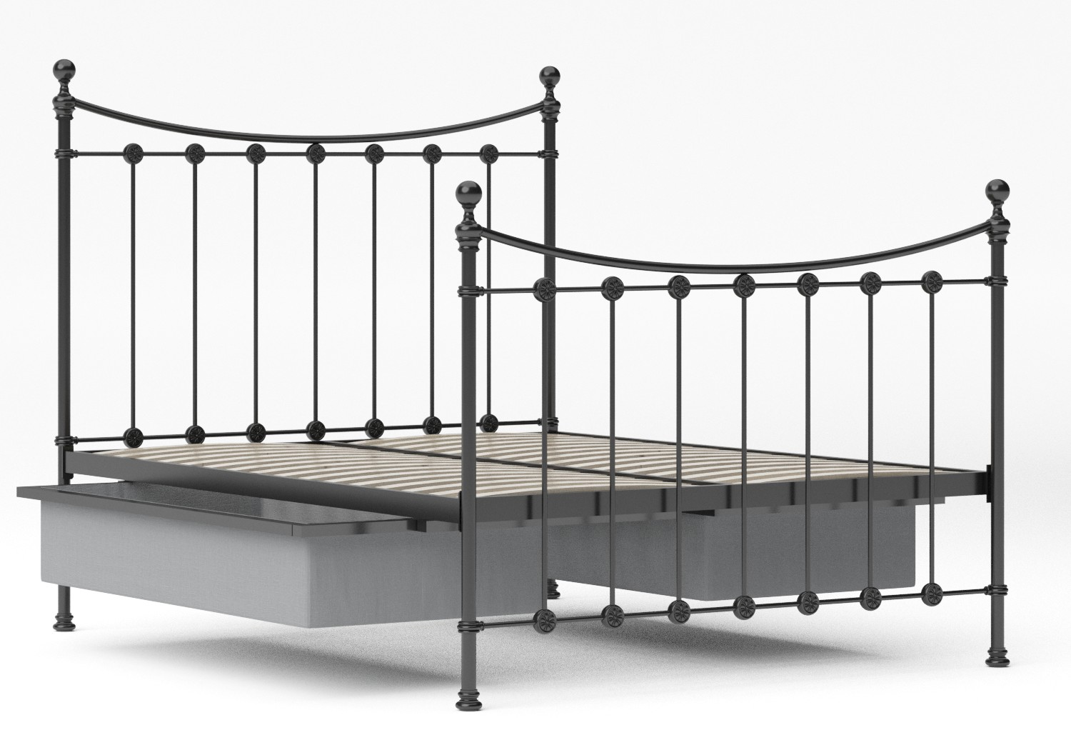 Carrick Iron/Metal Bed in Satin Black with black painted details shown with underbed storage