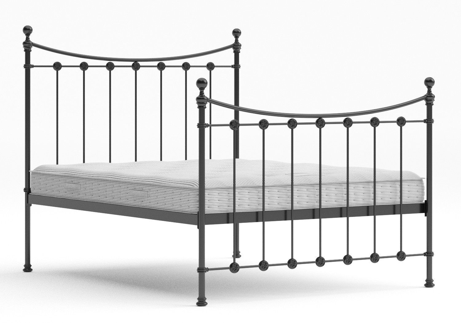 Carrick Iron/Metal Bed in Satin Black with black painted details shown with Juno 1 mattress