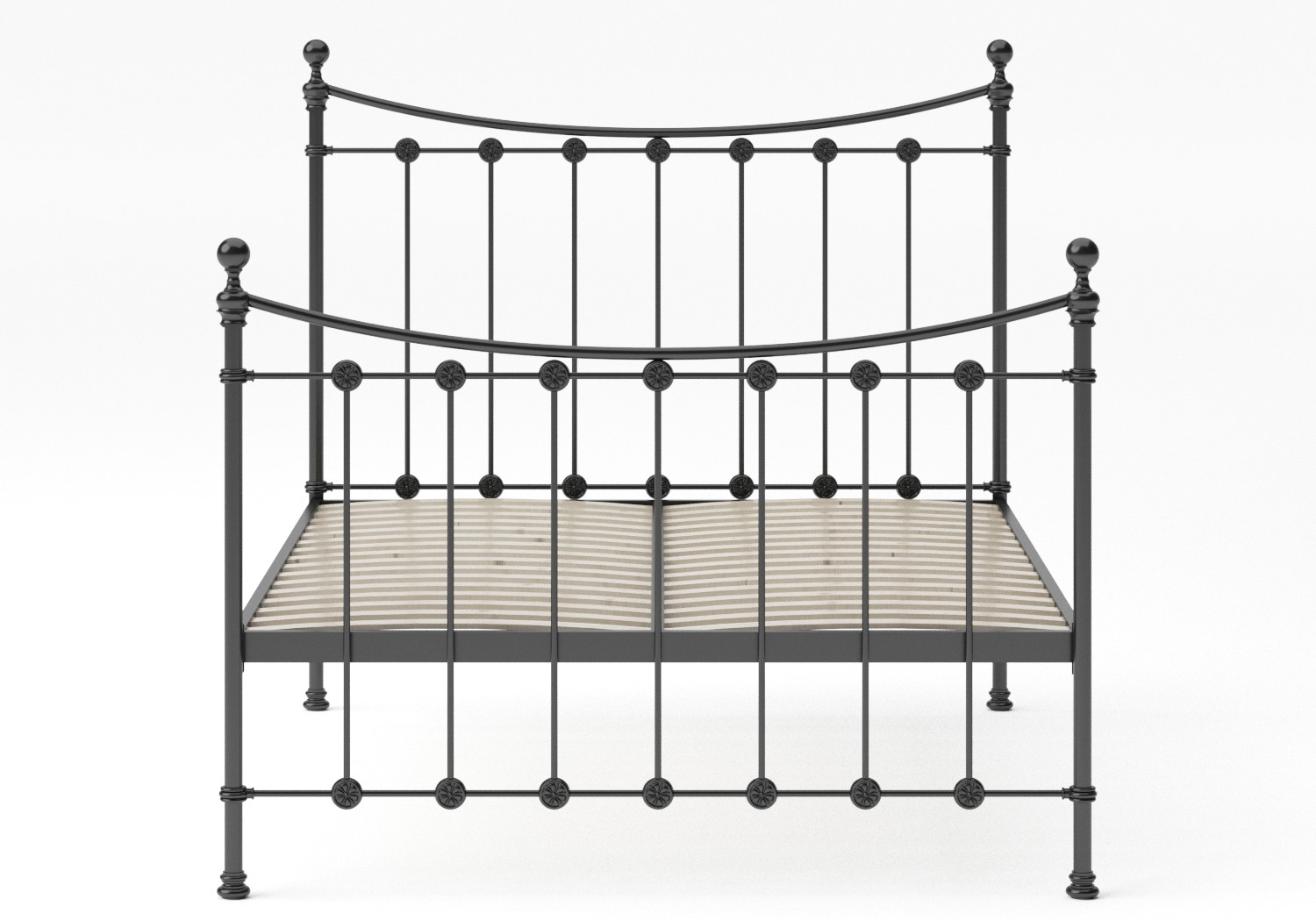 Carrick Iron/Metal Bed in Satin Black with black painted details shown with slatted frame