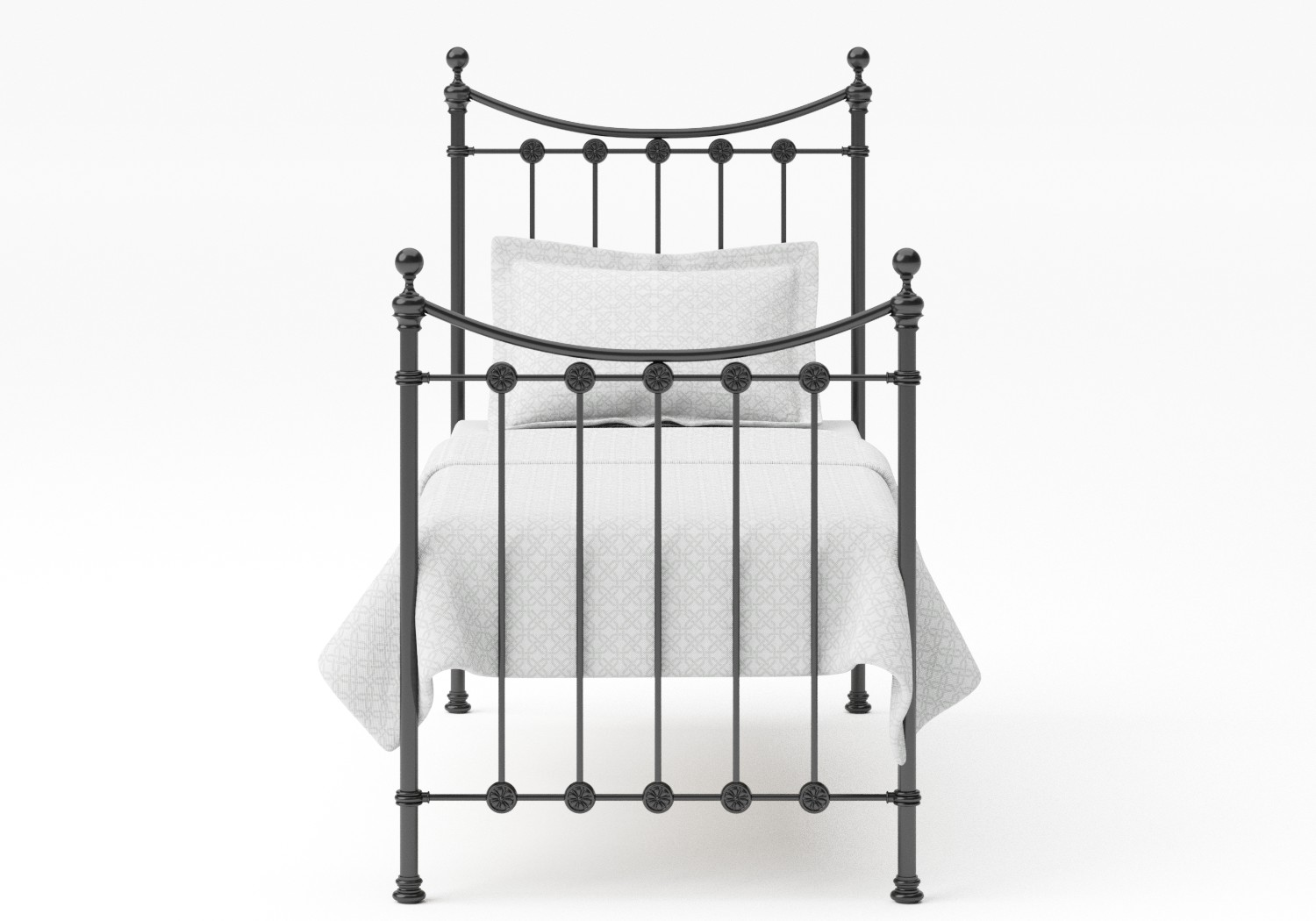 Carrick Single Iron/Metal Bed in Satin Black with black painted details